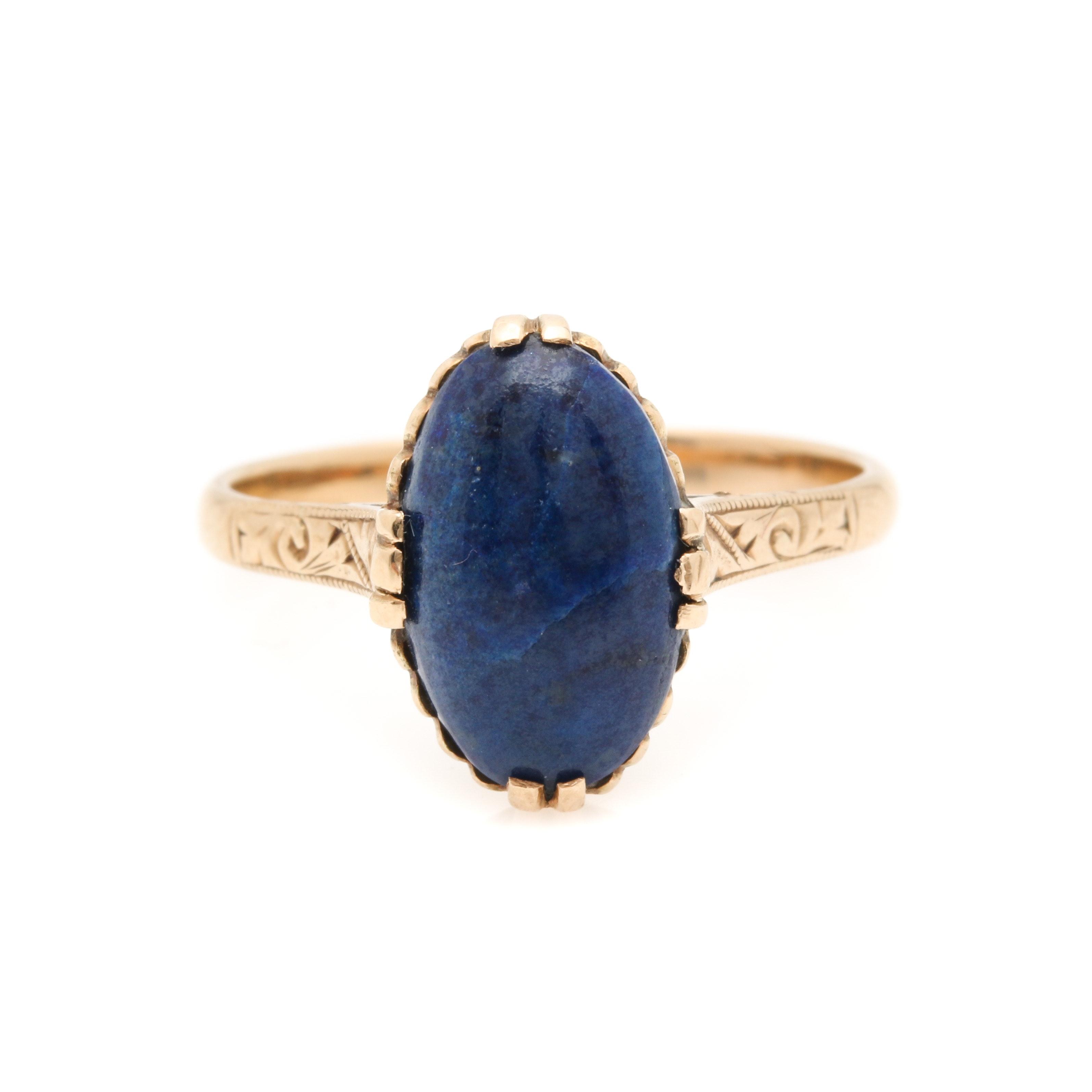 Victorian 14K Yellow Gold Lapis Lazuli Ring