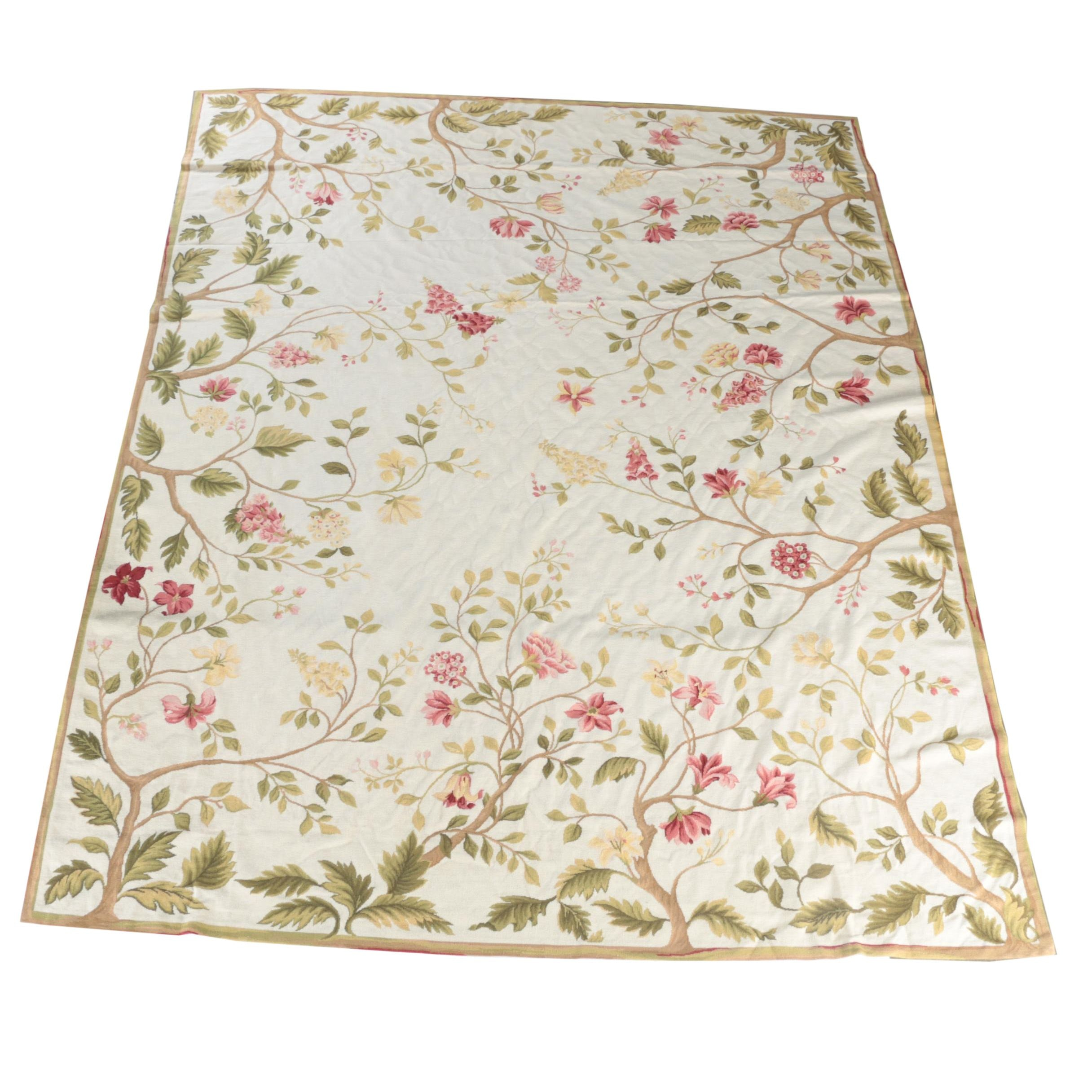 Needlepoint Floral Wool Room Size Rug