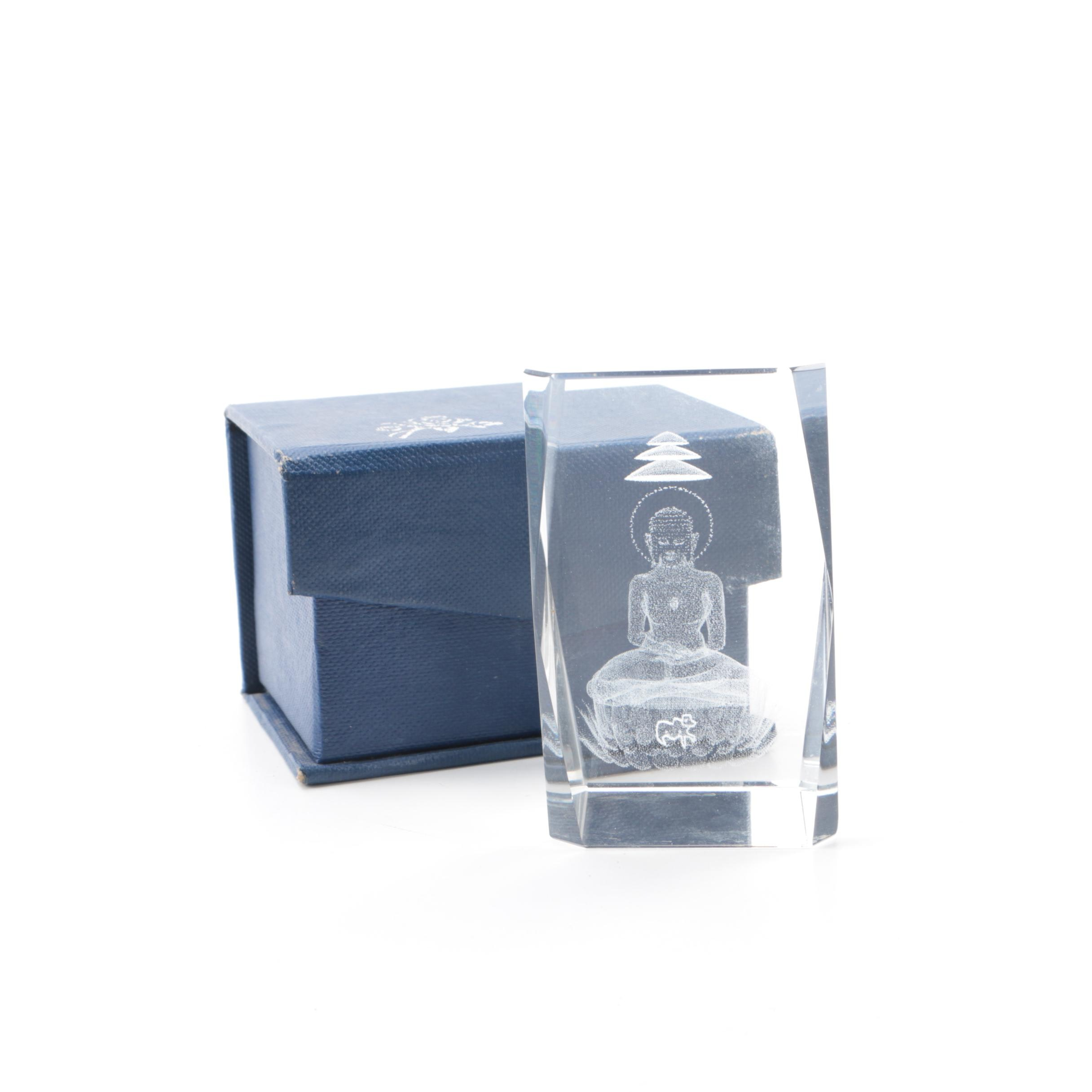 Glass Block Paperweight with Laser Buddha