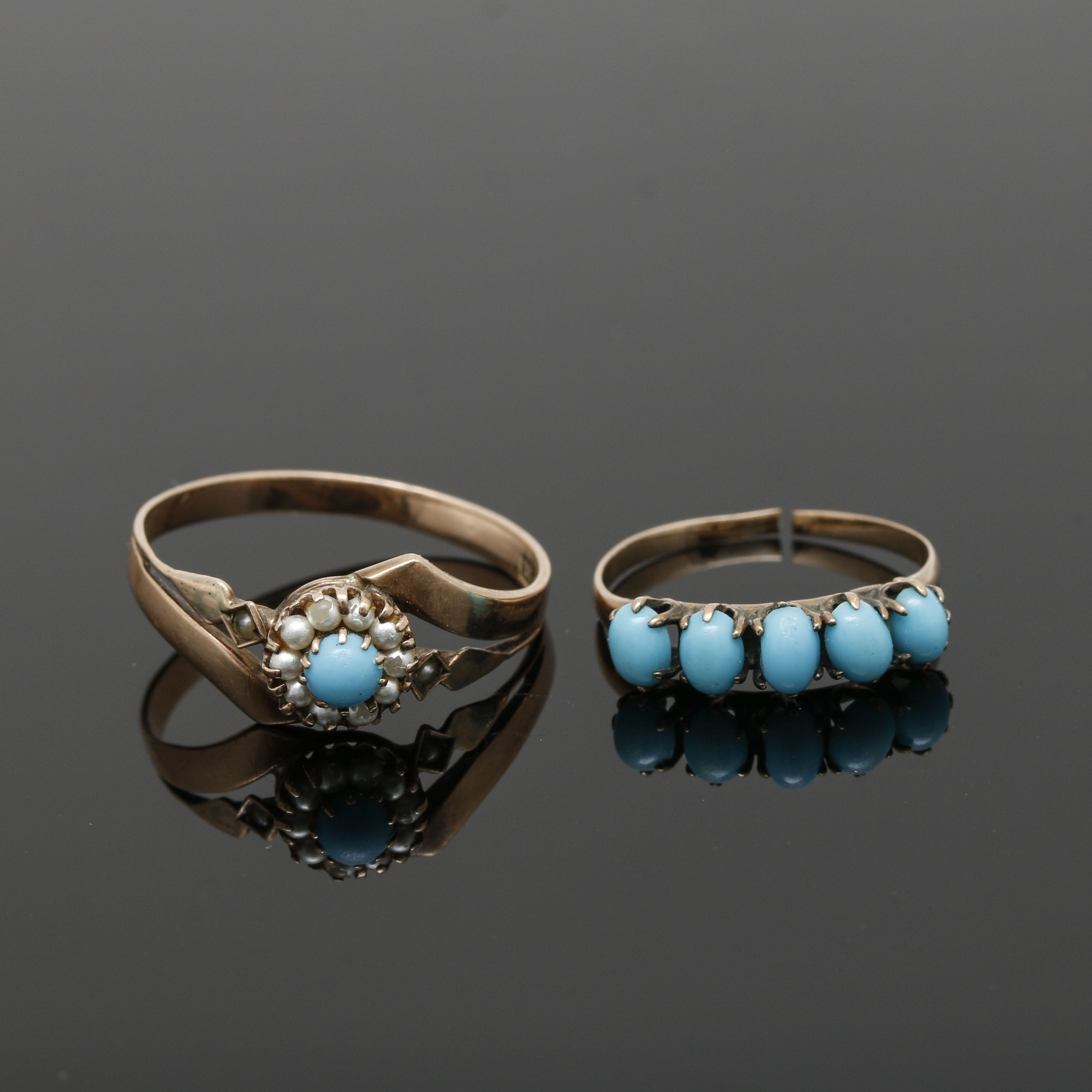 Selection of Victorian 8K and 9K Yellow Gold Turquoise and Pearl Rings