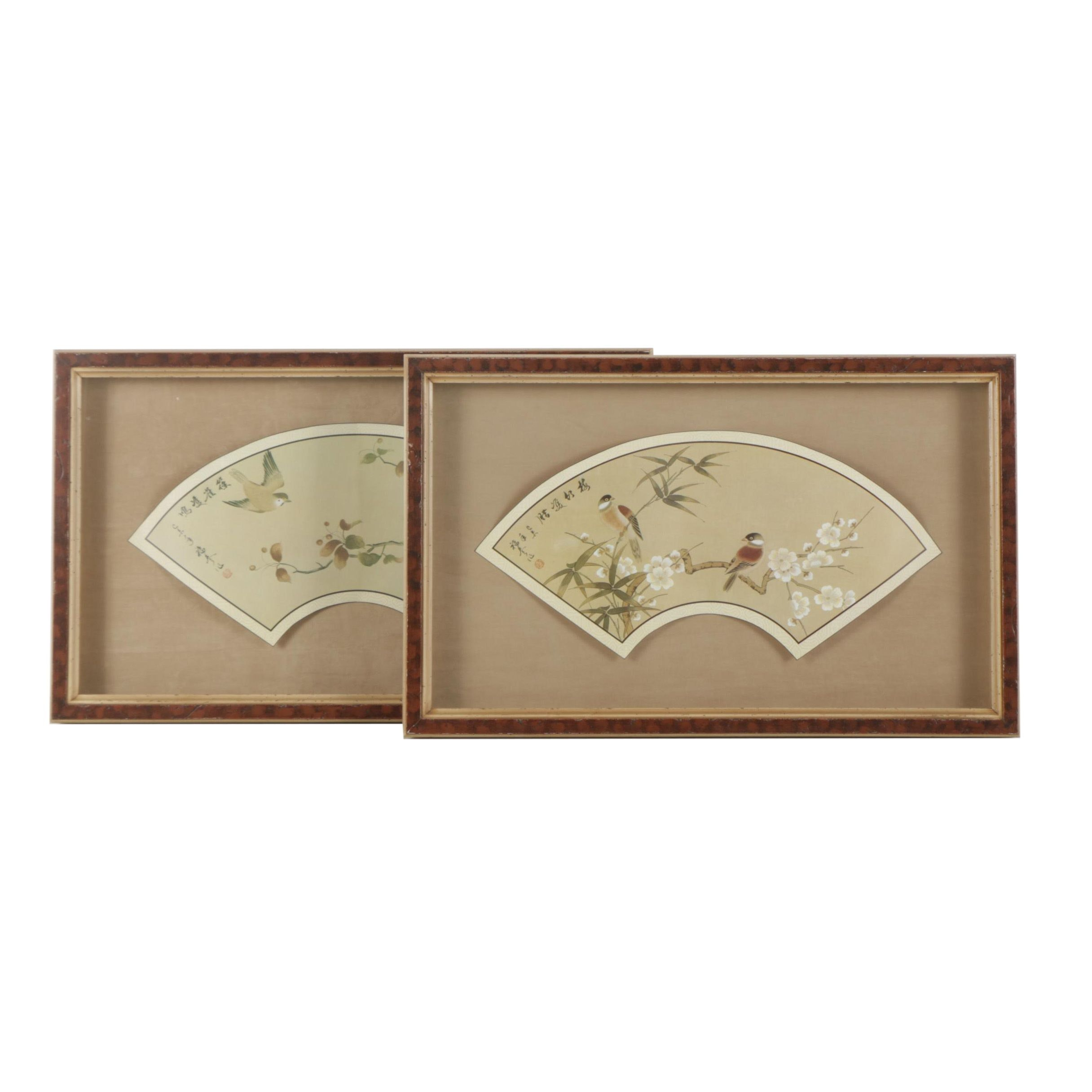 Offset Lithograph Prints After East Asian Style Painted Fans of Birds