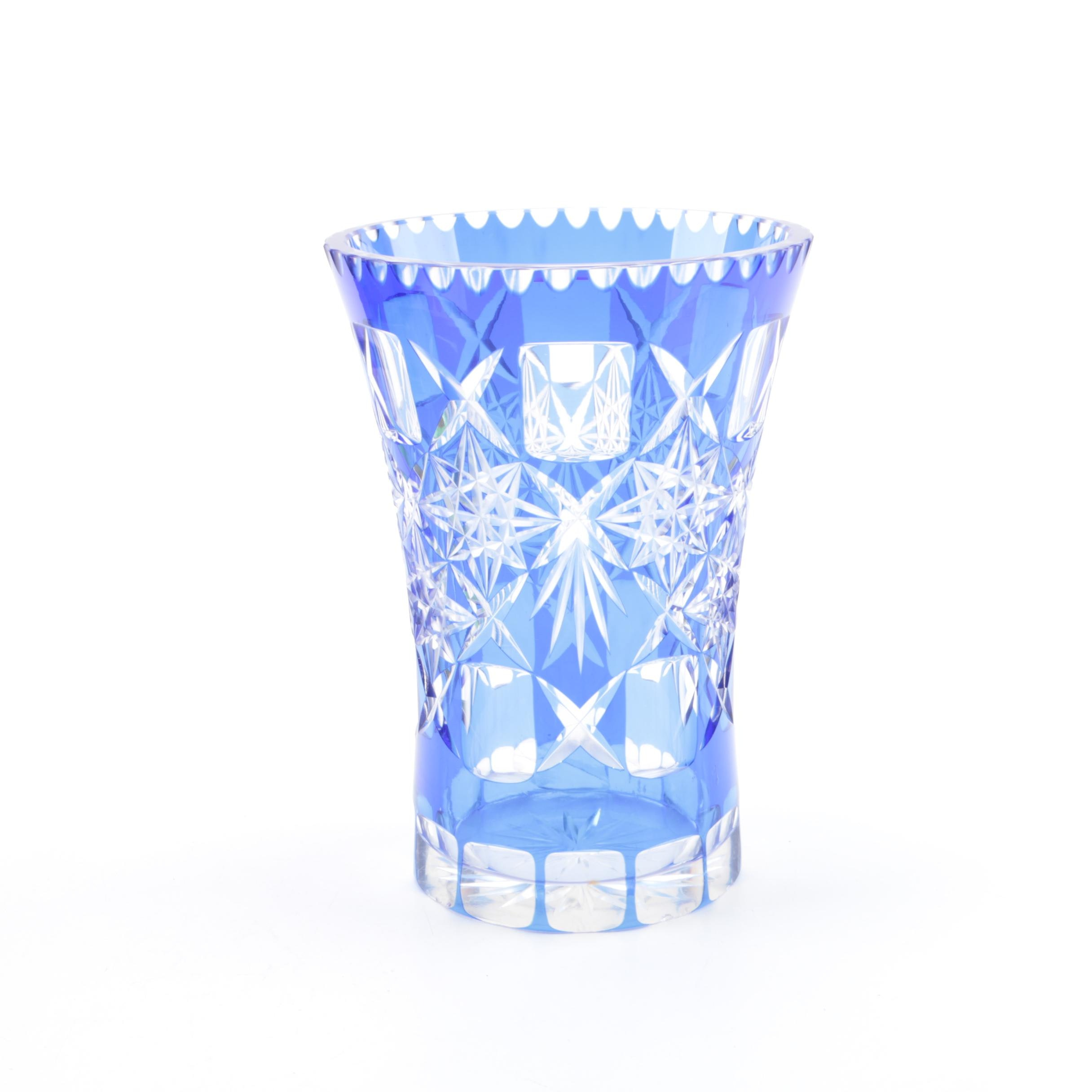 Bohemian Style Cased Blue Cut to Clear Crystal Vase
