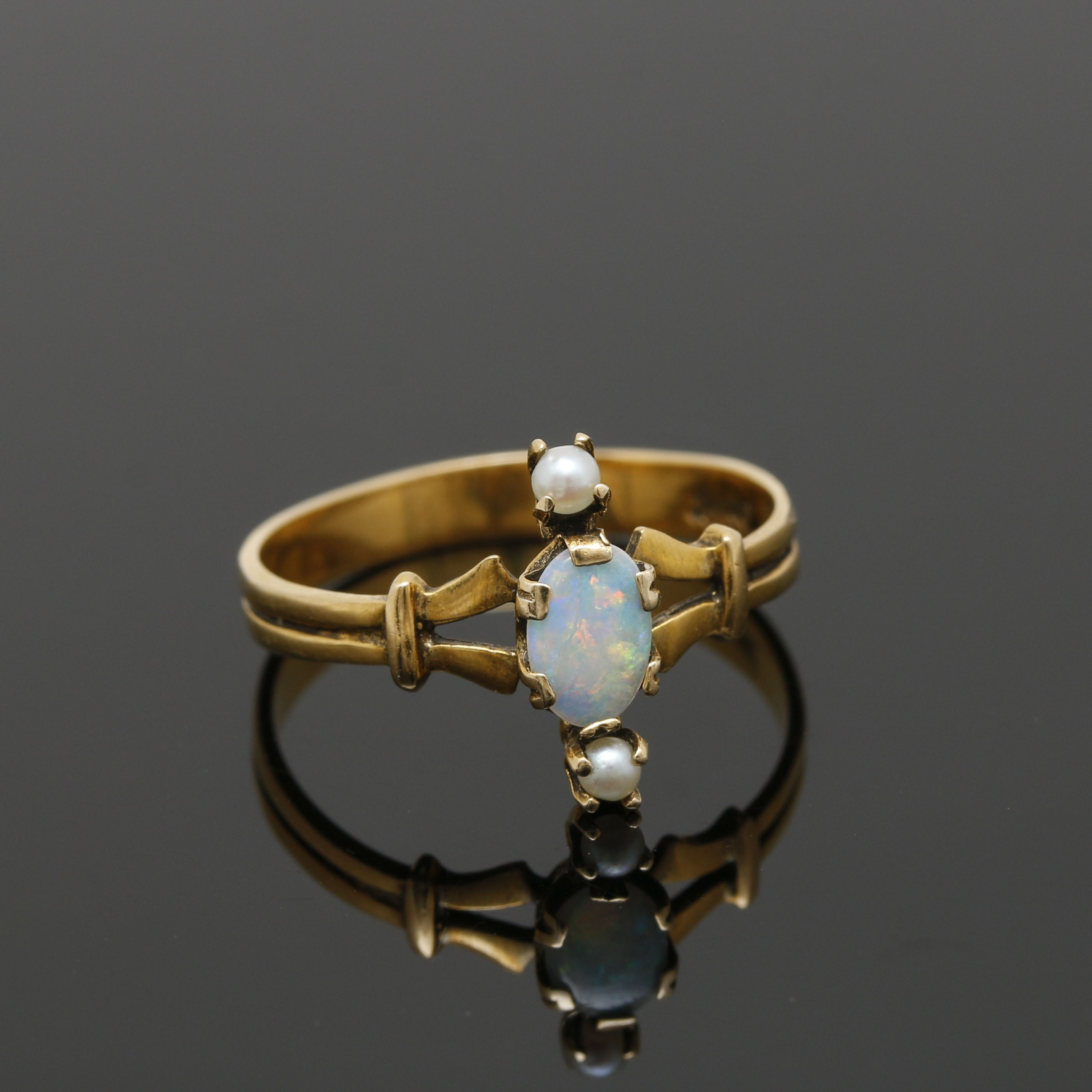 Victorian 14K Yellow Gold Opal and Seed Pearl Ring