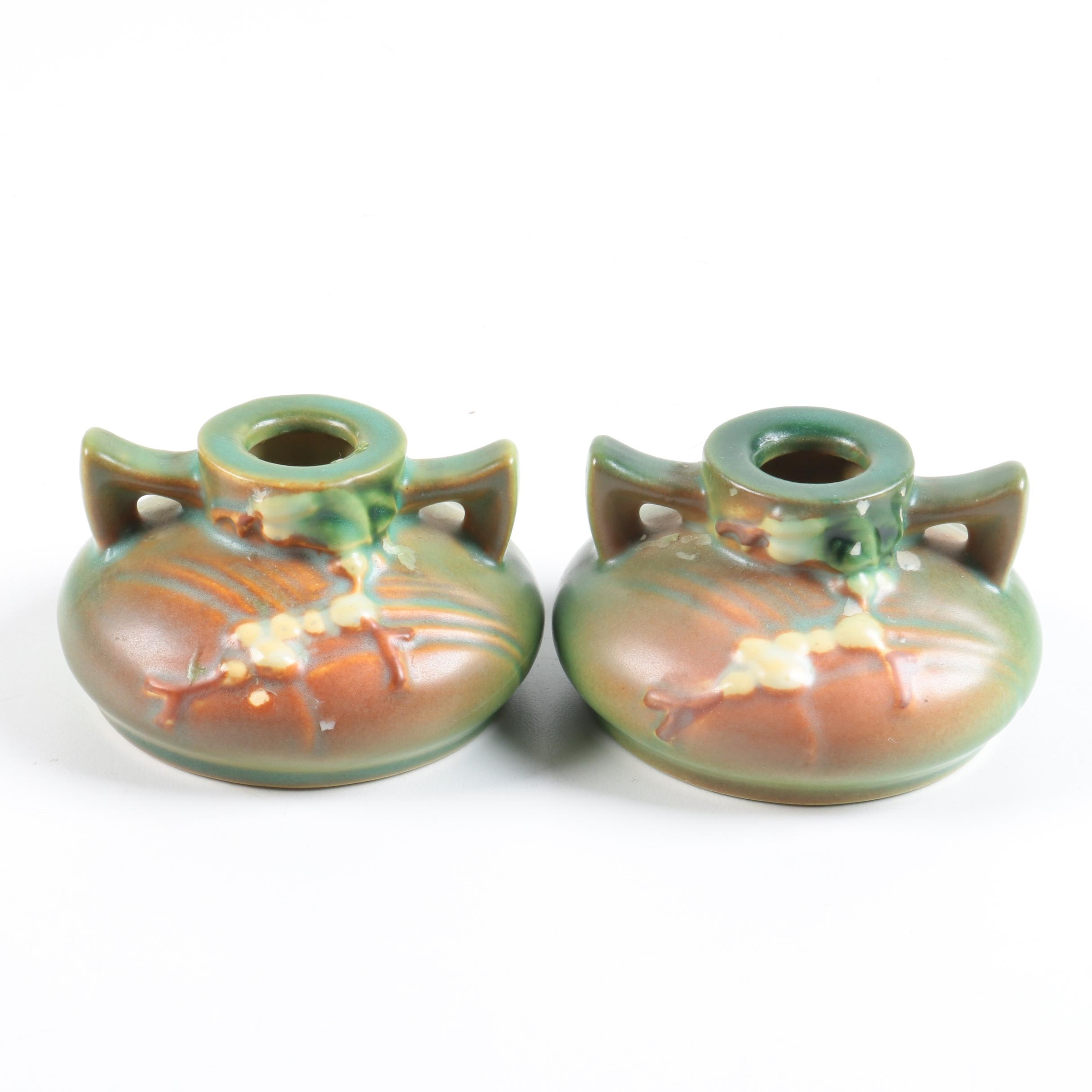 "Roseville Pottery ""Snowberry"" Candlesticks"