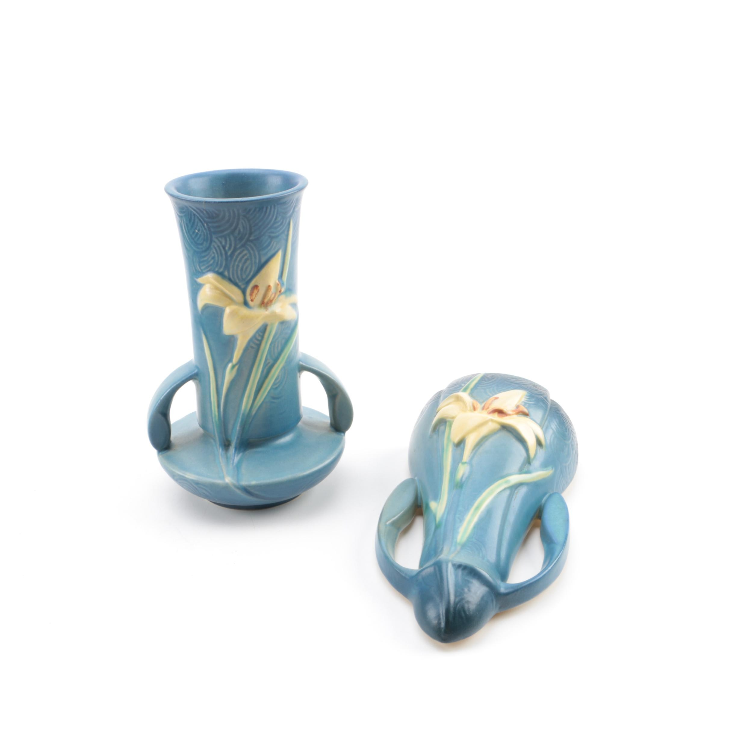 """Roseville Pottery """"Zephyr Lily"""" Vase and Wall Pocket"""