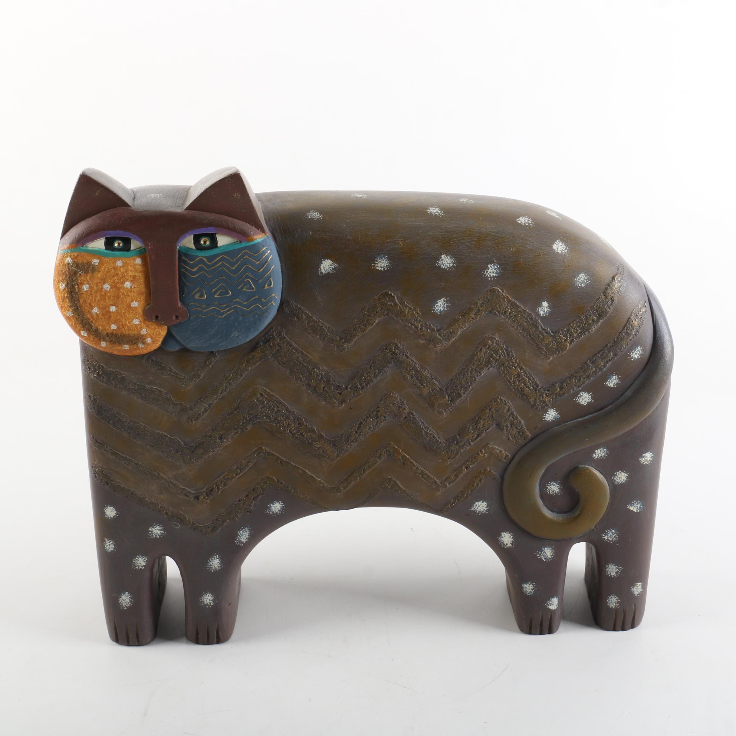 1999 Laurel Burch Composite Stylized Cat Figurine