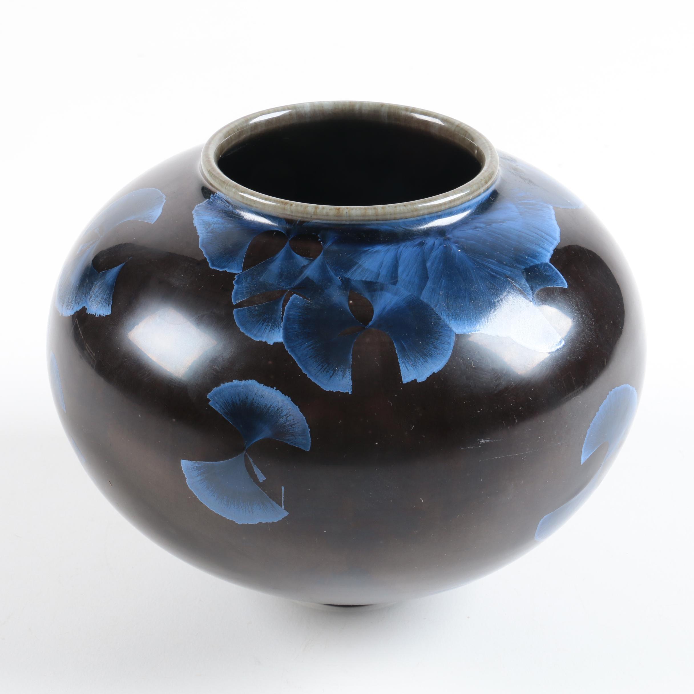 Tim Marcotte Signed Hand Thrown Crystalline Glaze Porcelain Vase