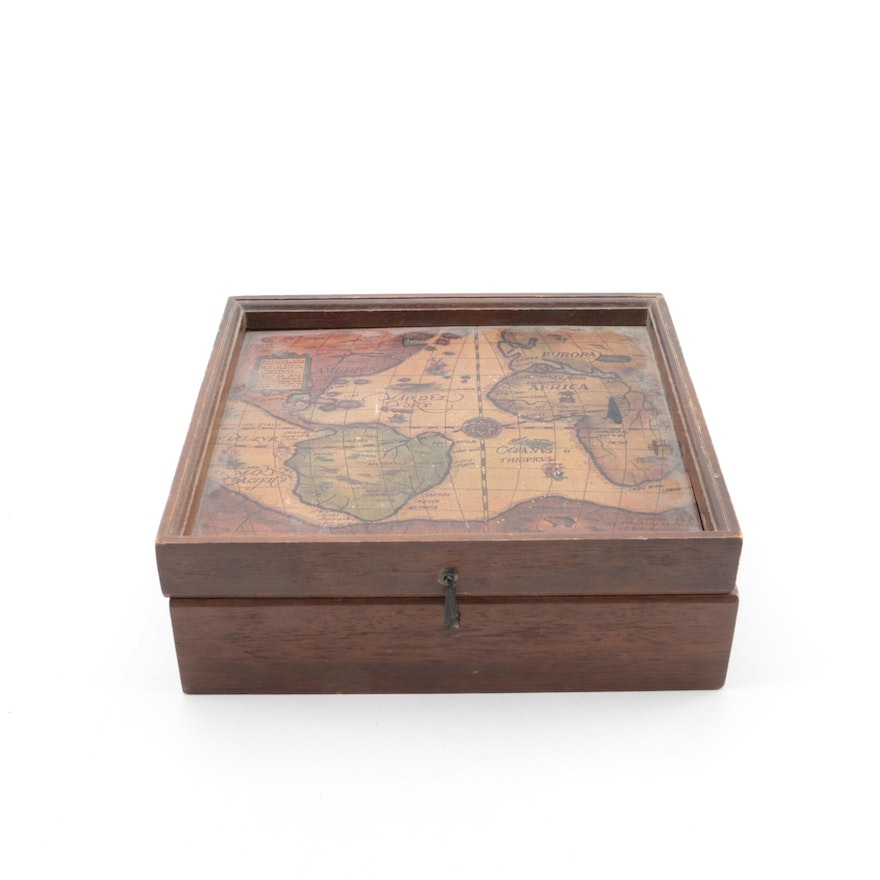 World map themed musical jewelry box ebth world map themed musical jewelry box gumiabroncs Choice Image
