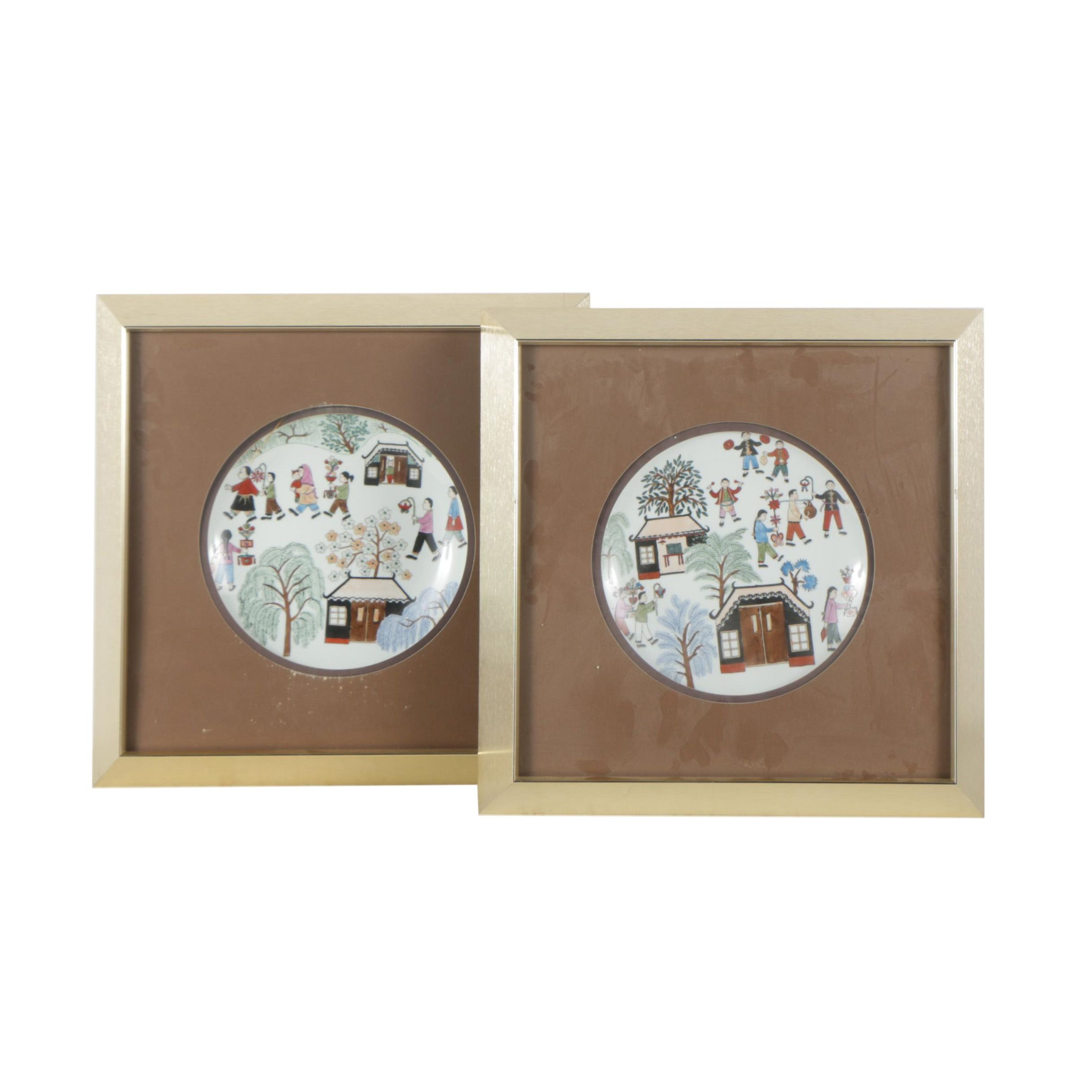 Framed Chinese Plates with Folk Art Village Scene