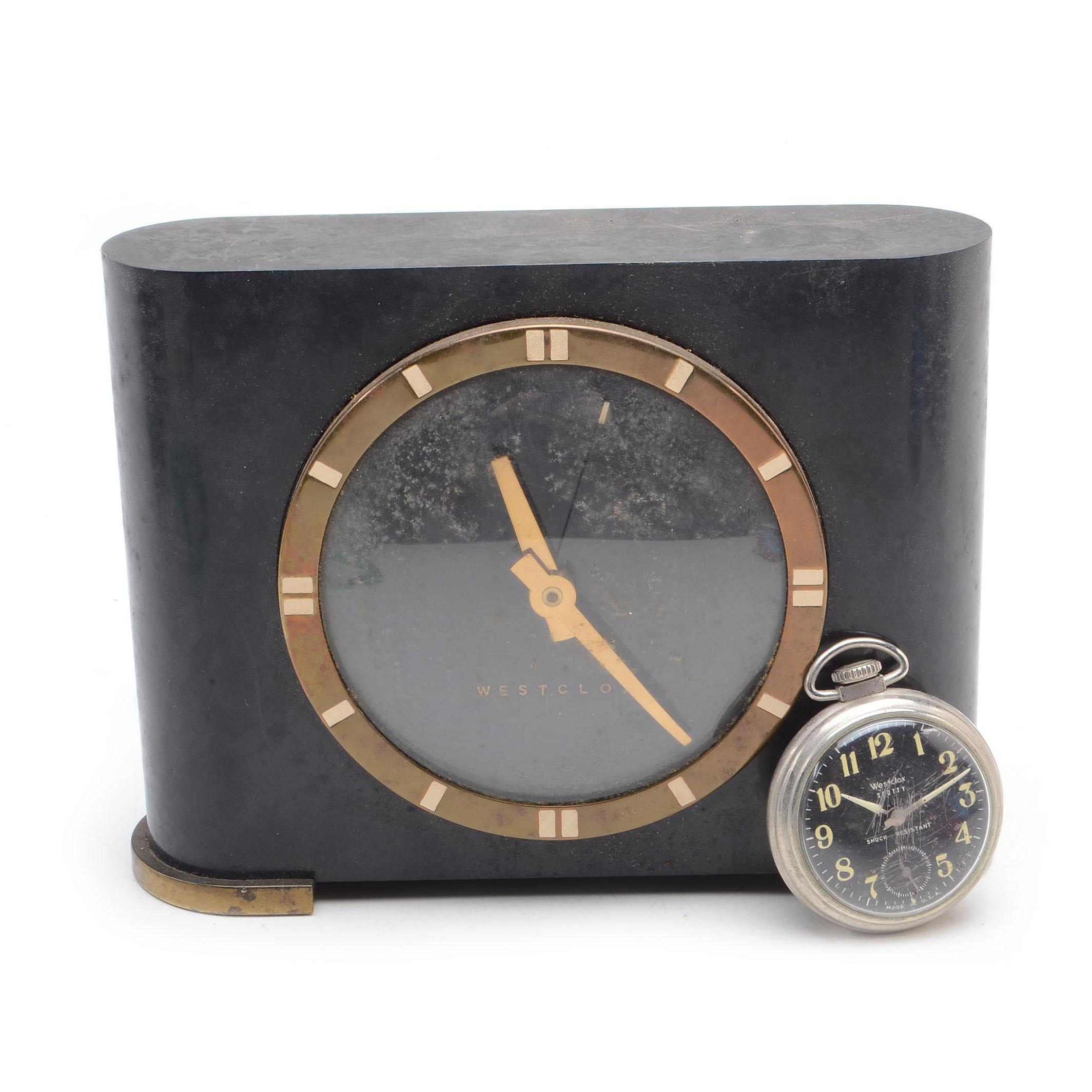 "Vintage Westclox ""Ben Franklin"" Electric Clock and Pocket Watch"