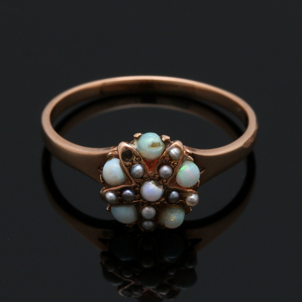 Victorian 14K Yellow Gold Opal and Cultured Seed Pearl Ring
