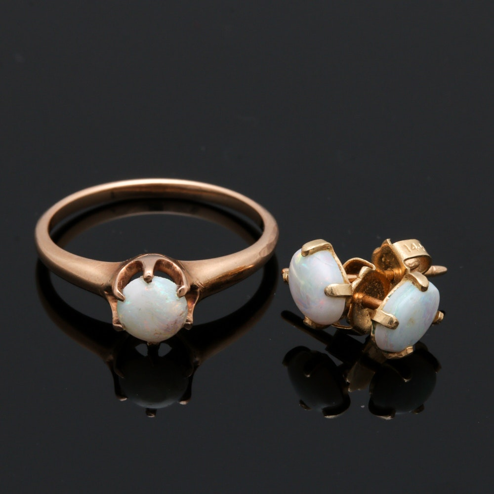 14K Yellow Gold Opal Ring and Earrings