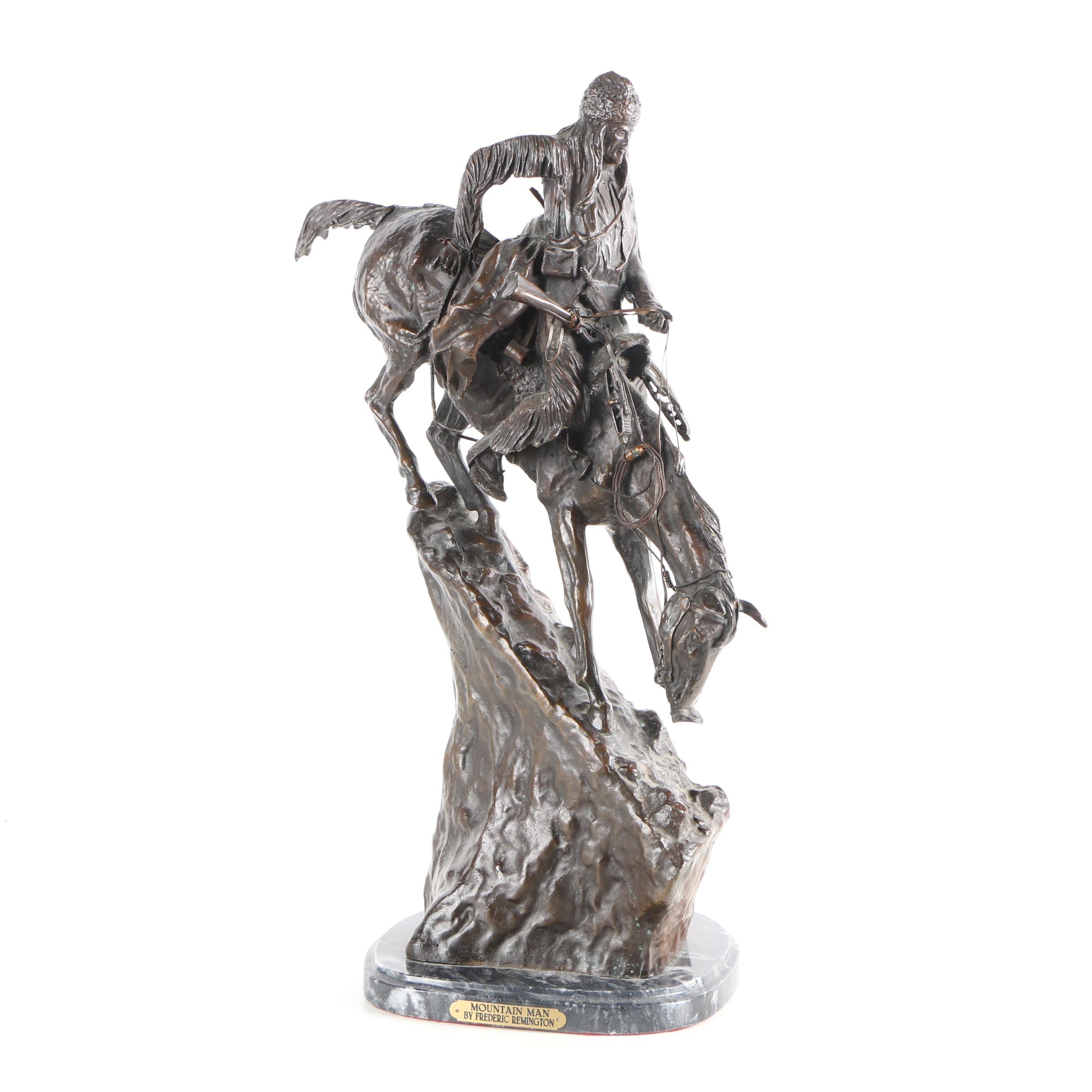 "Posthumous Frederic Remington Bronze Sculpture ""Mountain Man"""