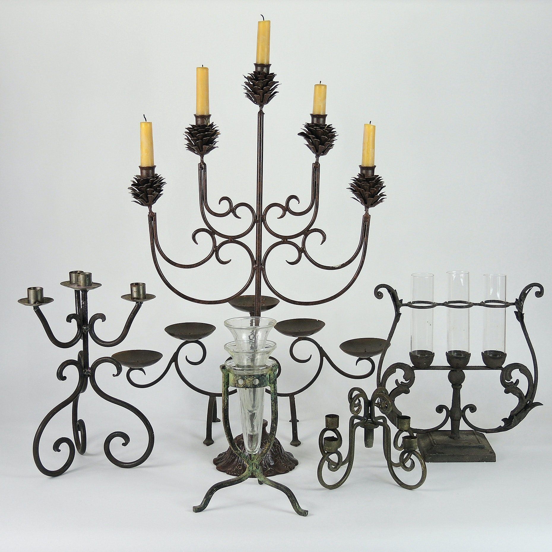 Wrought Iron Candle Holders and Table Decor