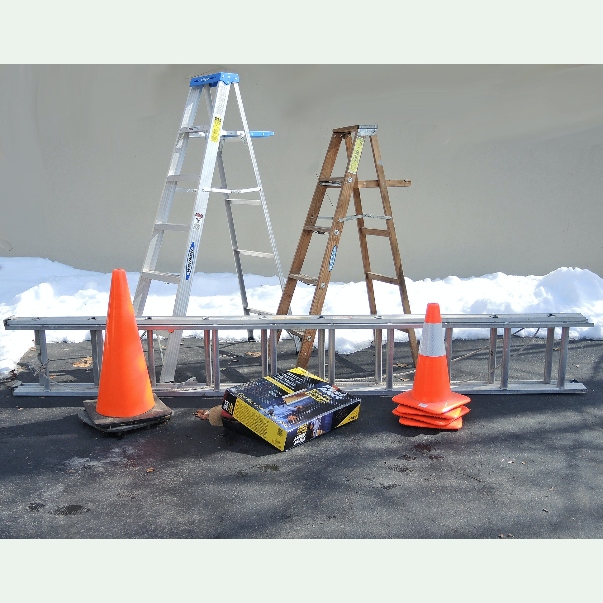 Folding Ladders, Traffic Cones, Fire Escape and Extension Ladder