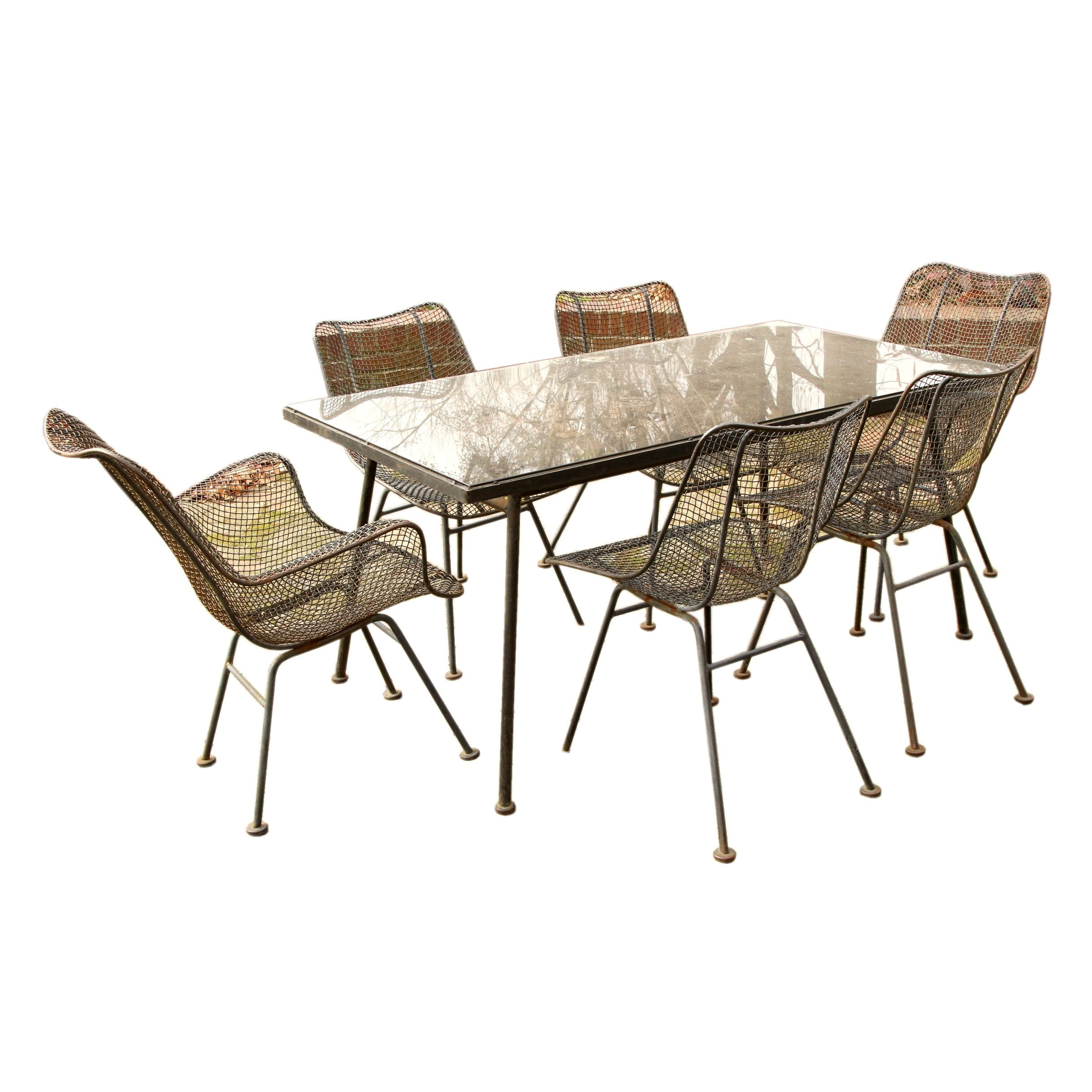 Mid Century Modern Style Iron and Glass Patio Set by Russel Woodard