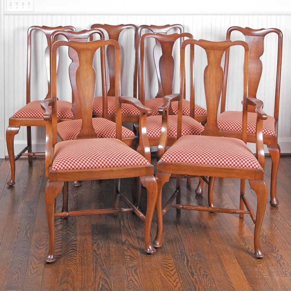 Eight Queen Anne Style Dining Chairs