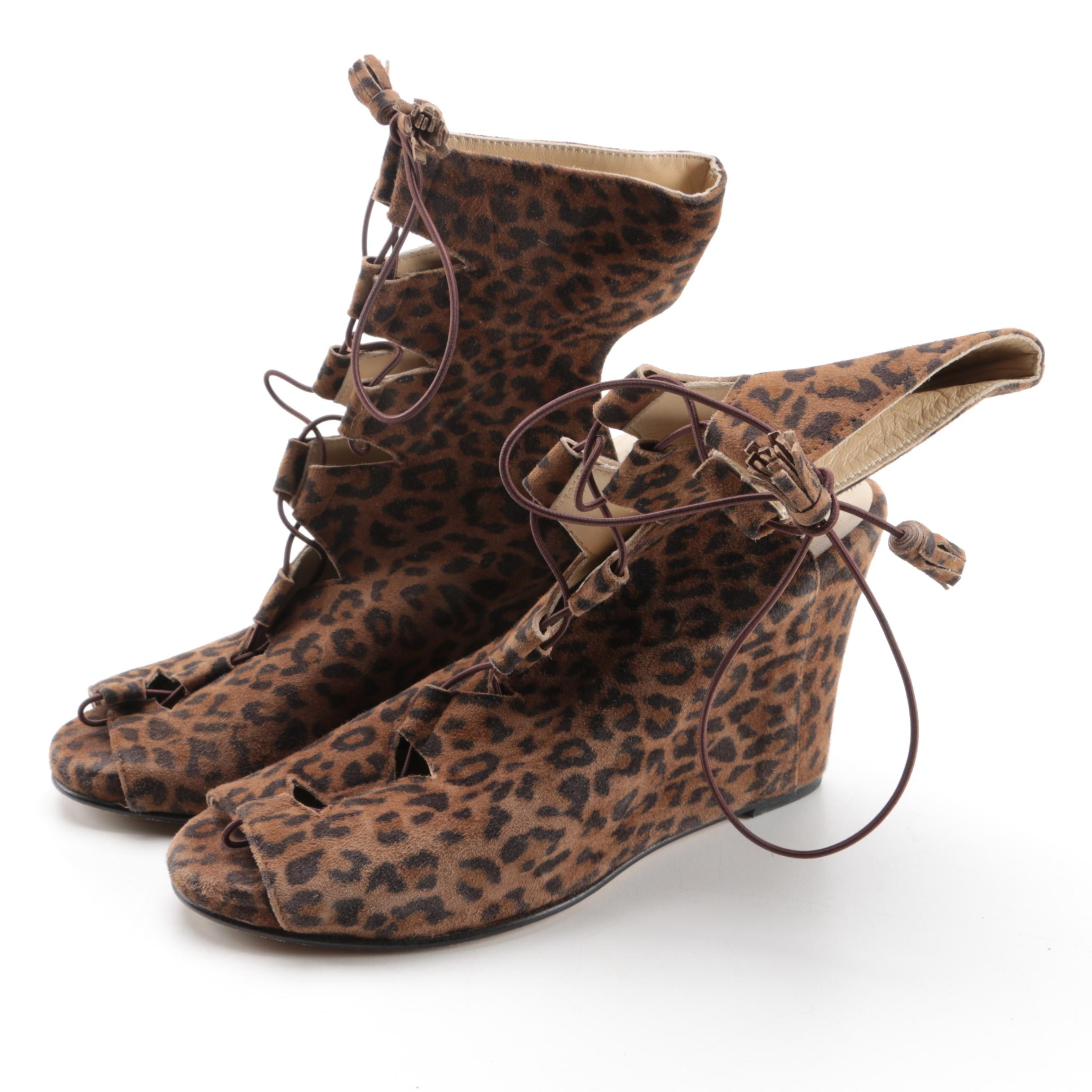 Opening Ceremony Leopard Print Lace-Up Peep-Toe Wedges
