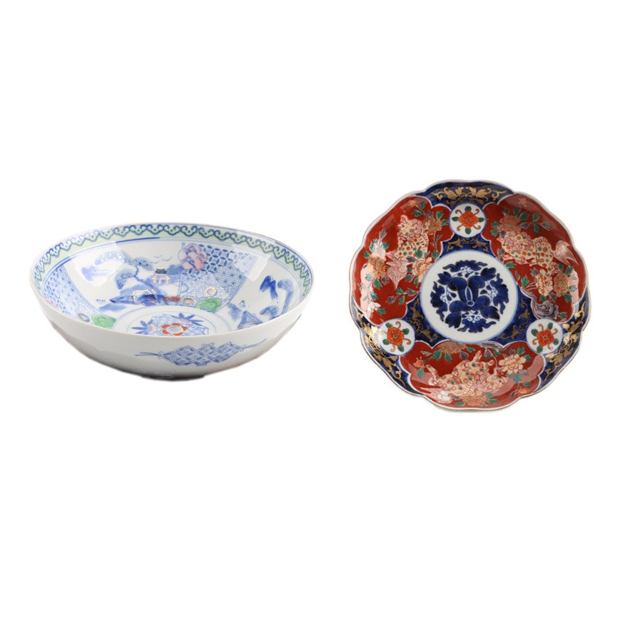 Japanese Hand Painted Porcelain Tableware Including Imari