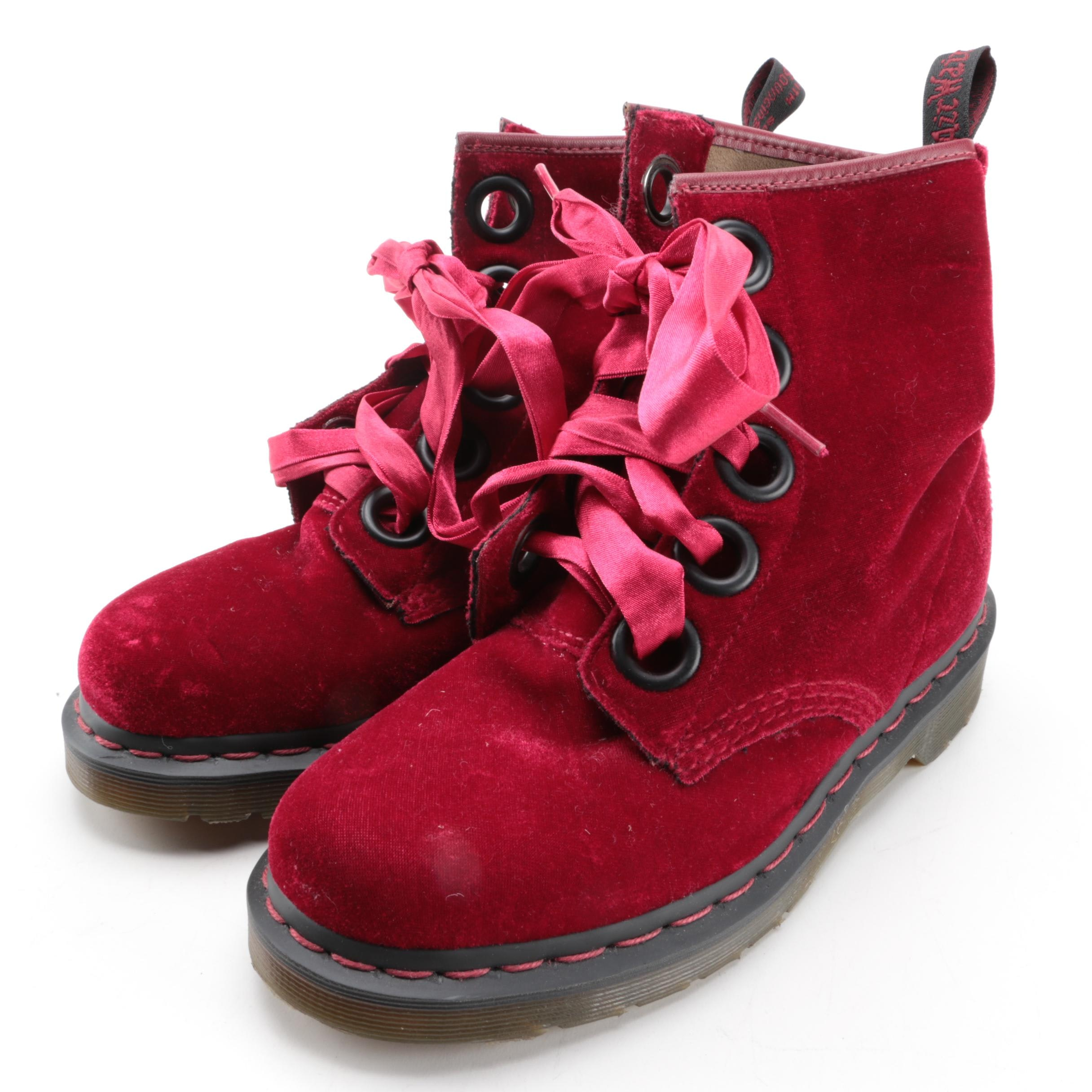 Women's Dr. Martens Red Velvet Boots