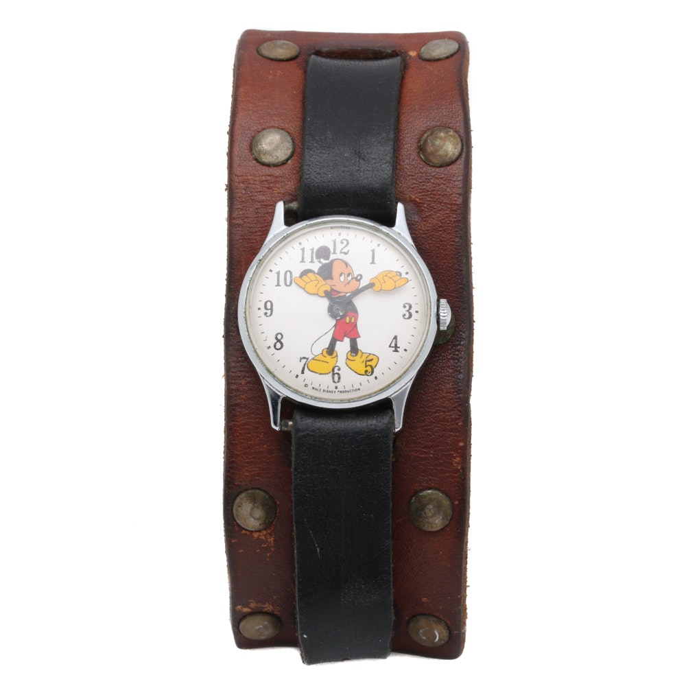 Timex Mickey Mouse Chrome Plated Stainless Steel Wristwatch With Leather Band