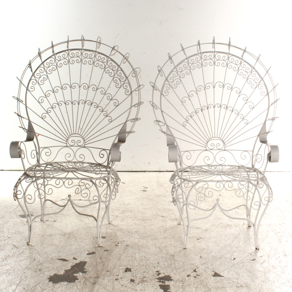 Pair of Vintage White Wrought Iron Peacock Patio Chairs