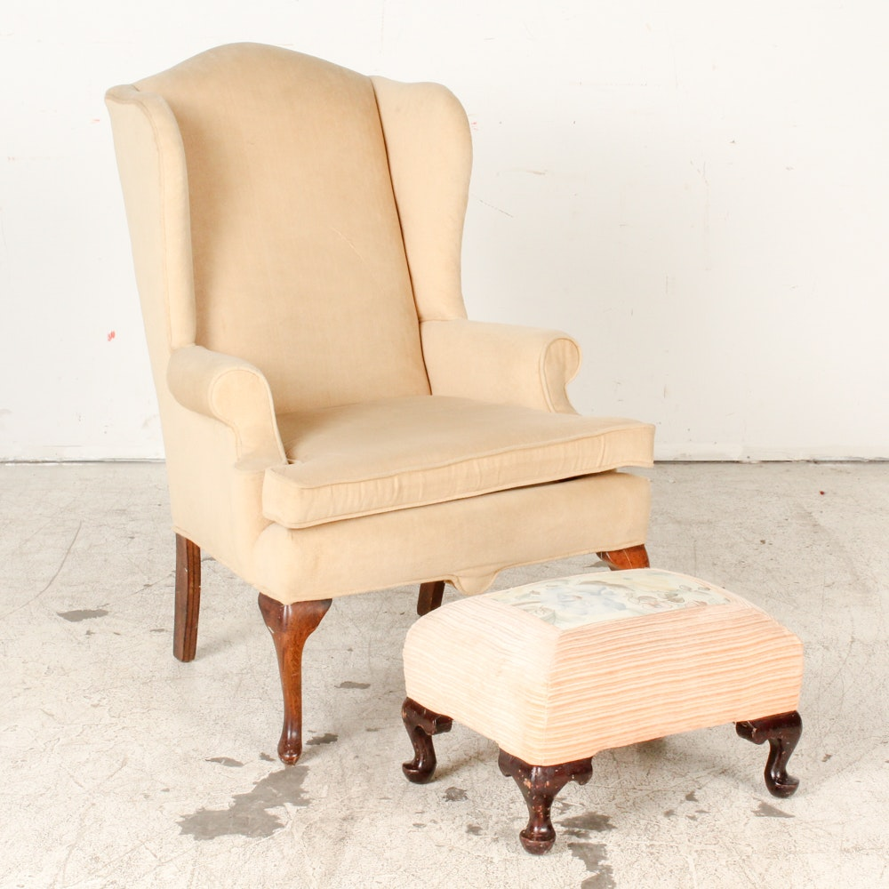 Upholstered Wingback Armchair with Ottoman