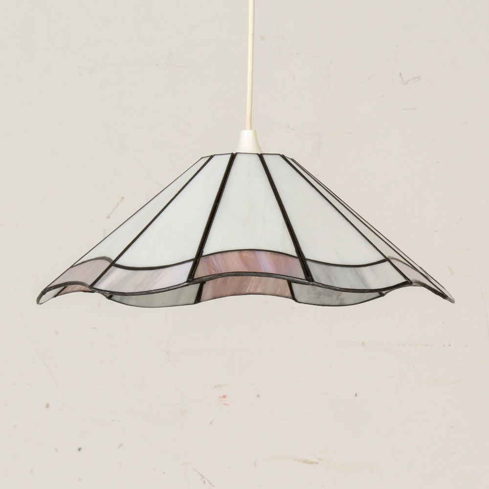 Contemporary Swag Light with Slag Glass Accented Shade