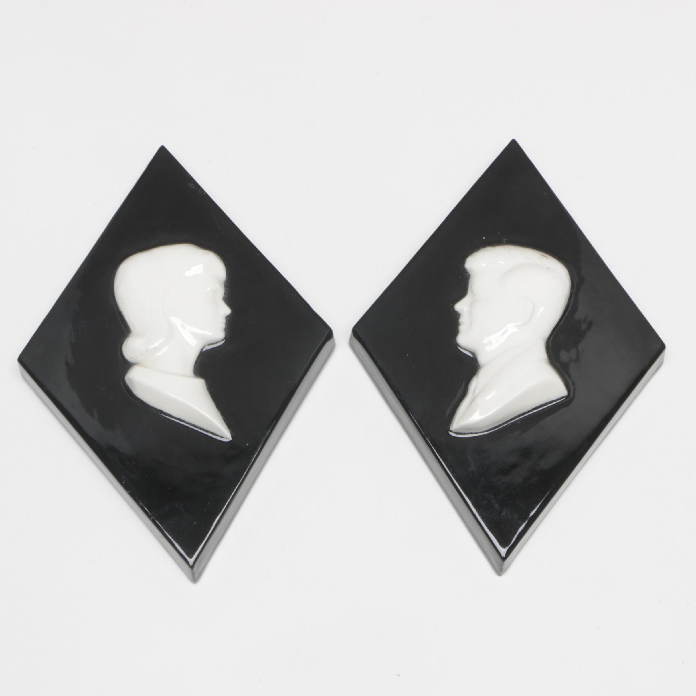 Vintage John F. Kennedy and Jacqueline Kennedy Onassis Ceramic Wall Plaques