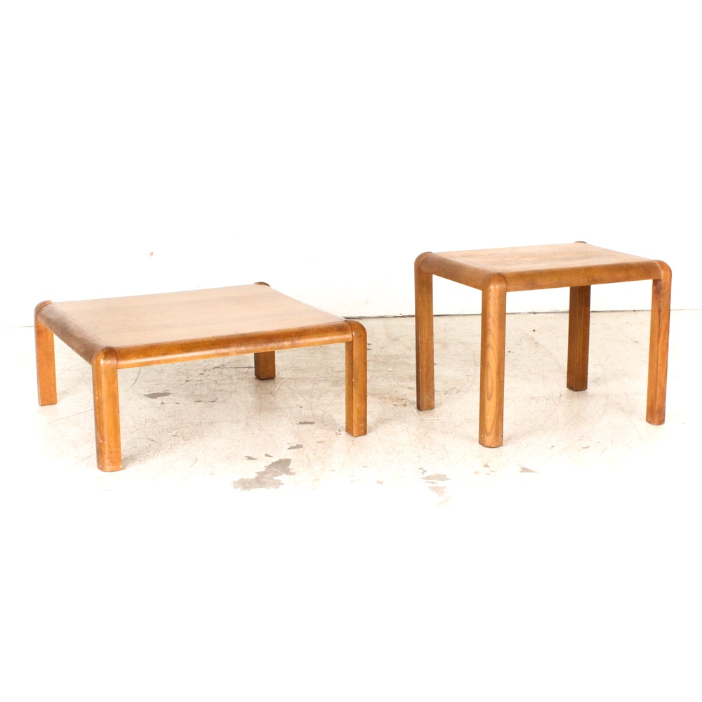Vintage Modern Oak Coffee Table and End Table from Lane