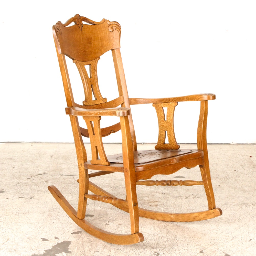 Colonial-Revival Oak Rocking Chair