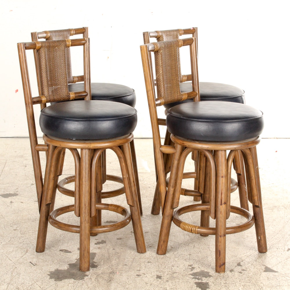 Vintage Rattan and Vinyl Bar Stools