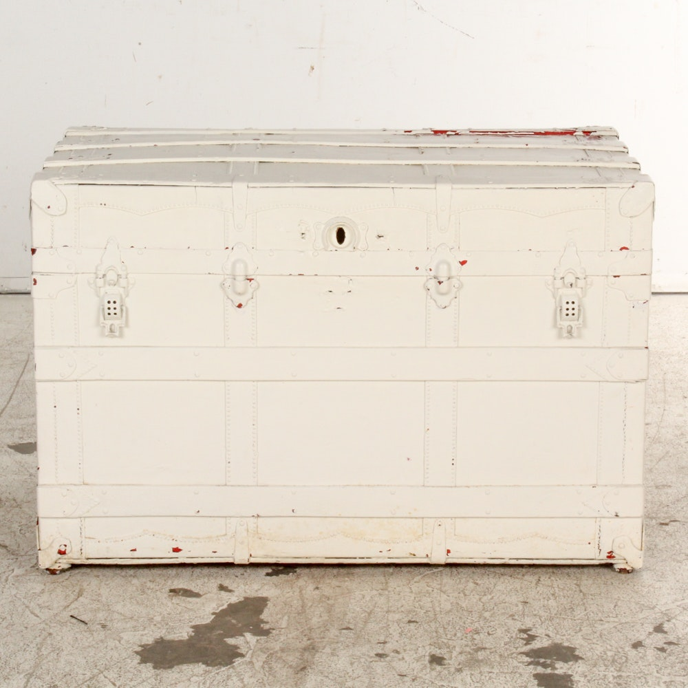 White Painted Steamer Trunk