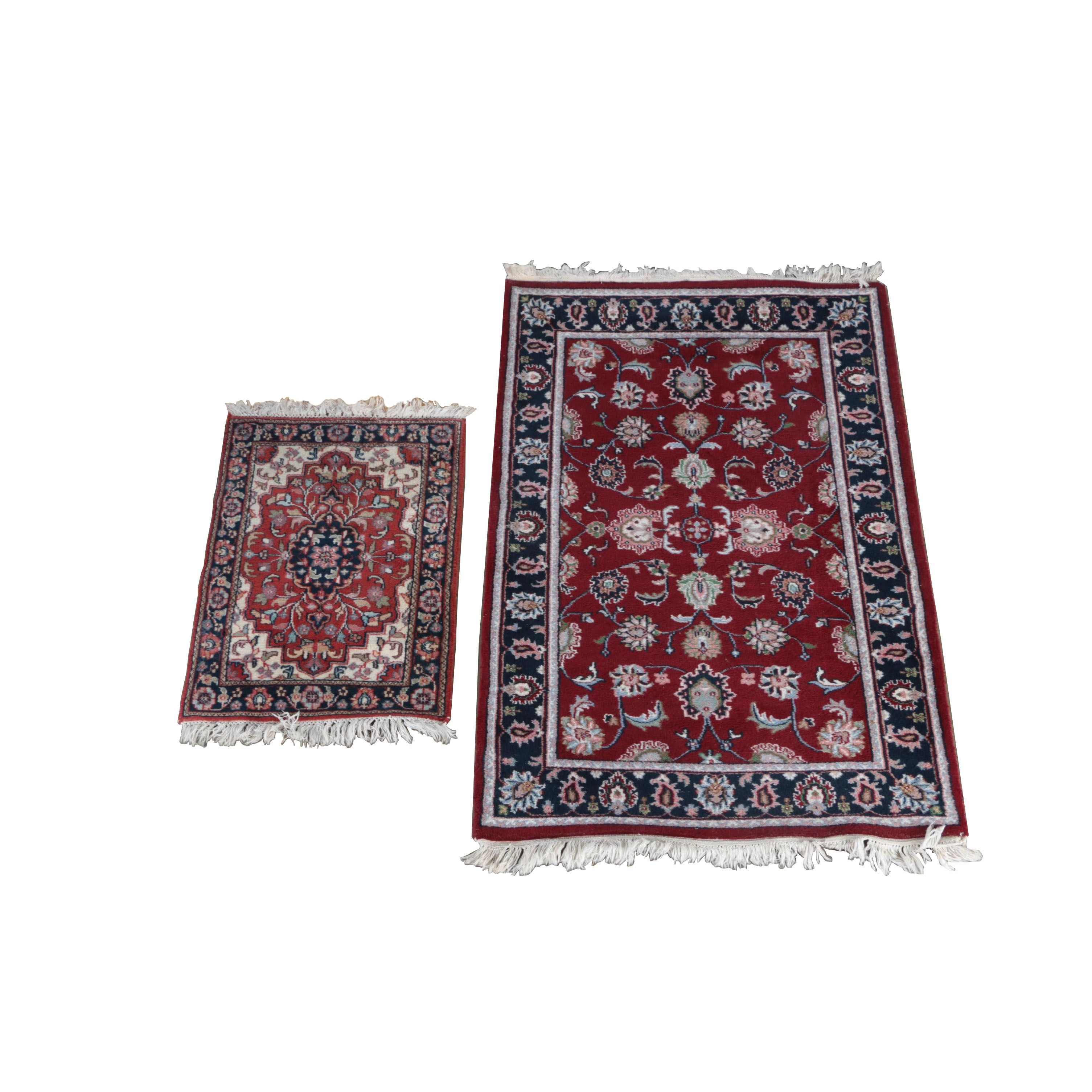 Hand-Knotted Indo-Persian Wool Accent Rugs