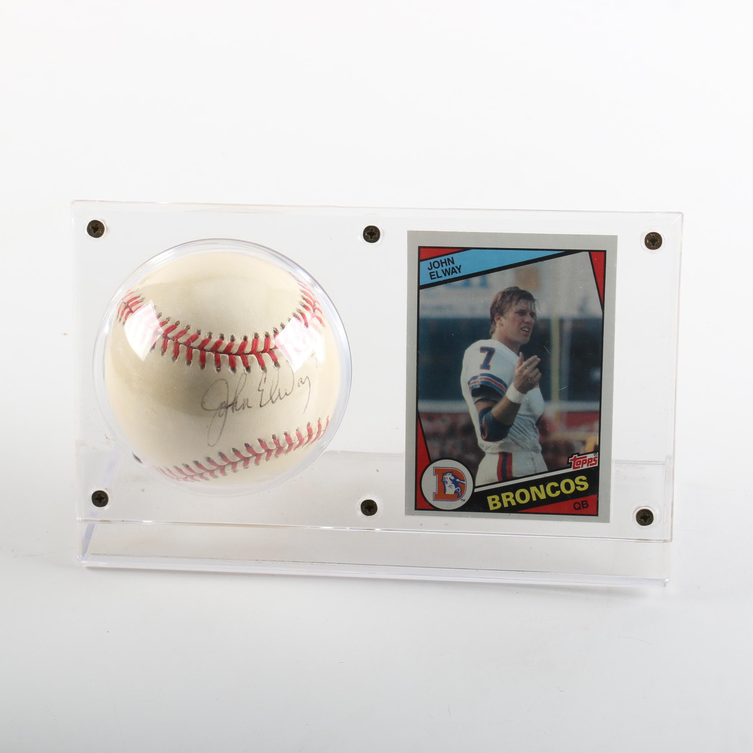 John Elway Autographed Baseball and Football Trading Card