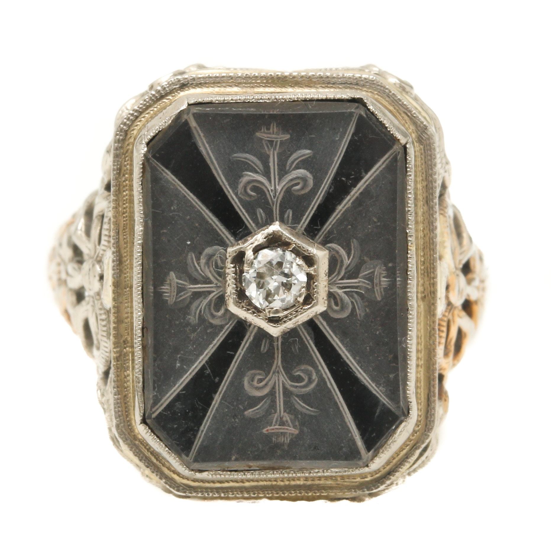 Art Deco 1930's 14K White Gold Rock Quartz and Diamond Ring