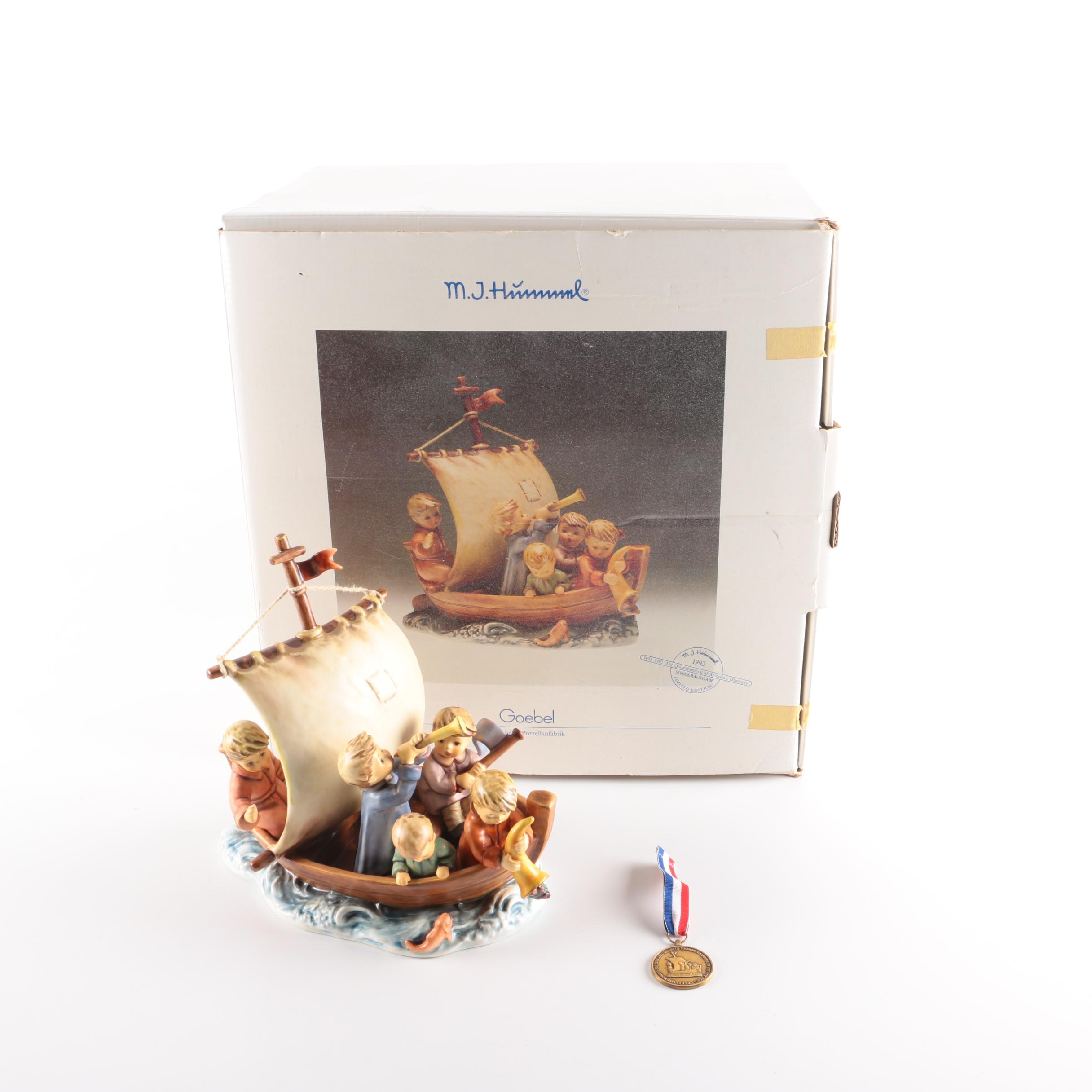 """M.I. Hummel """"Land in Sight"""" Limited Edition Figurine and Medal"""