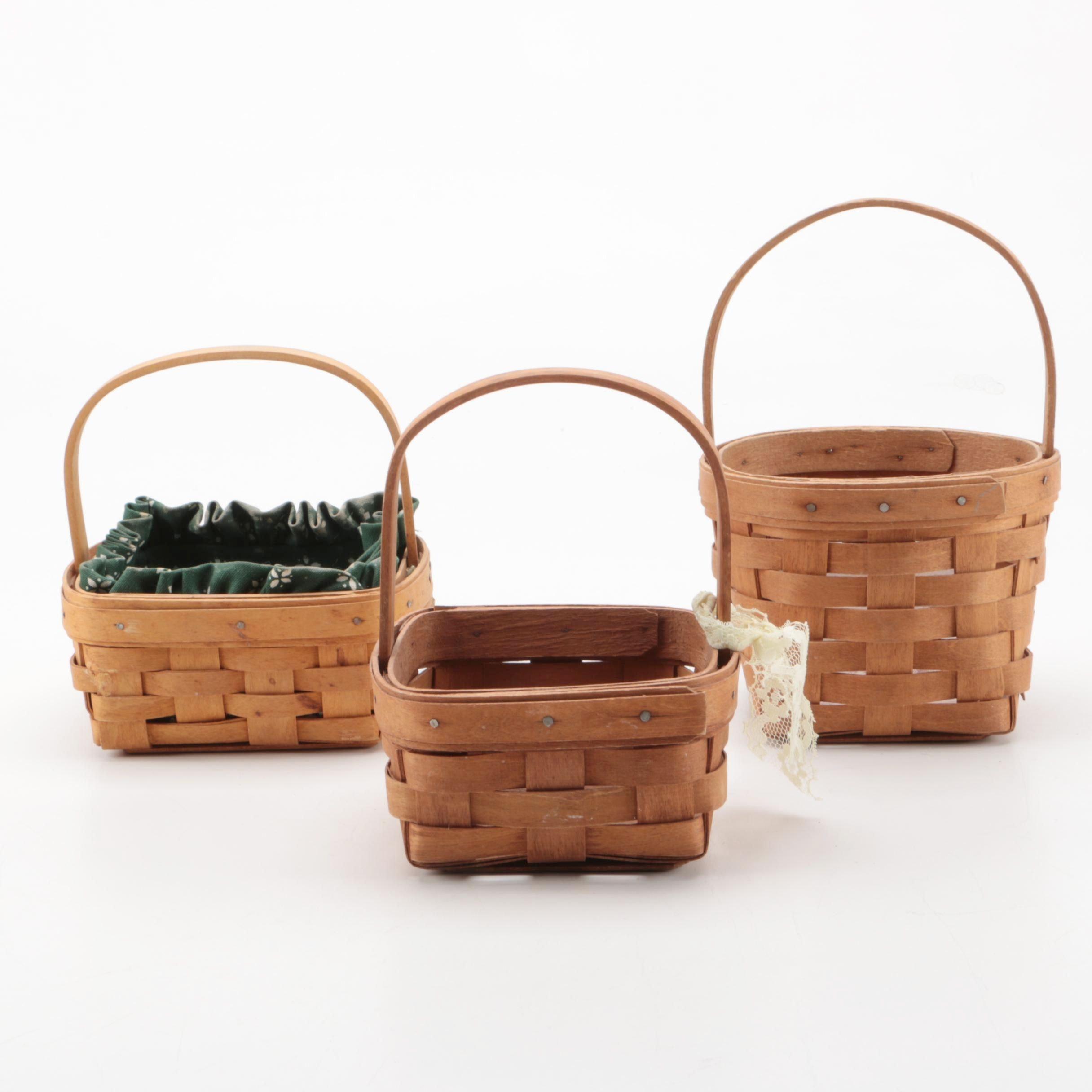 Handled Longaberger Signed Hand Woven Baskets