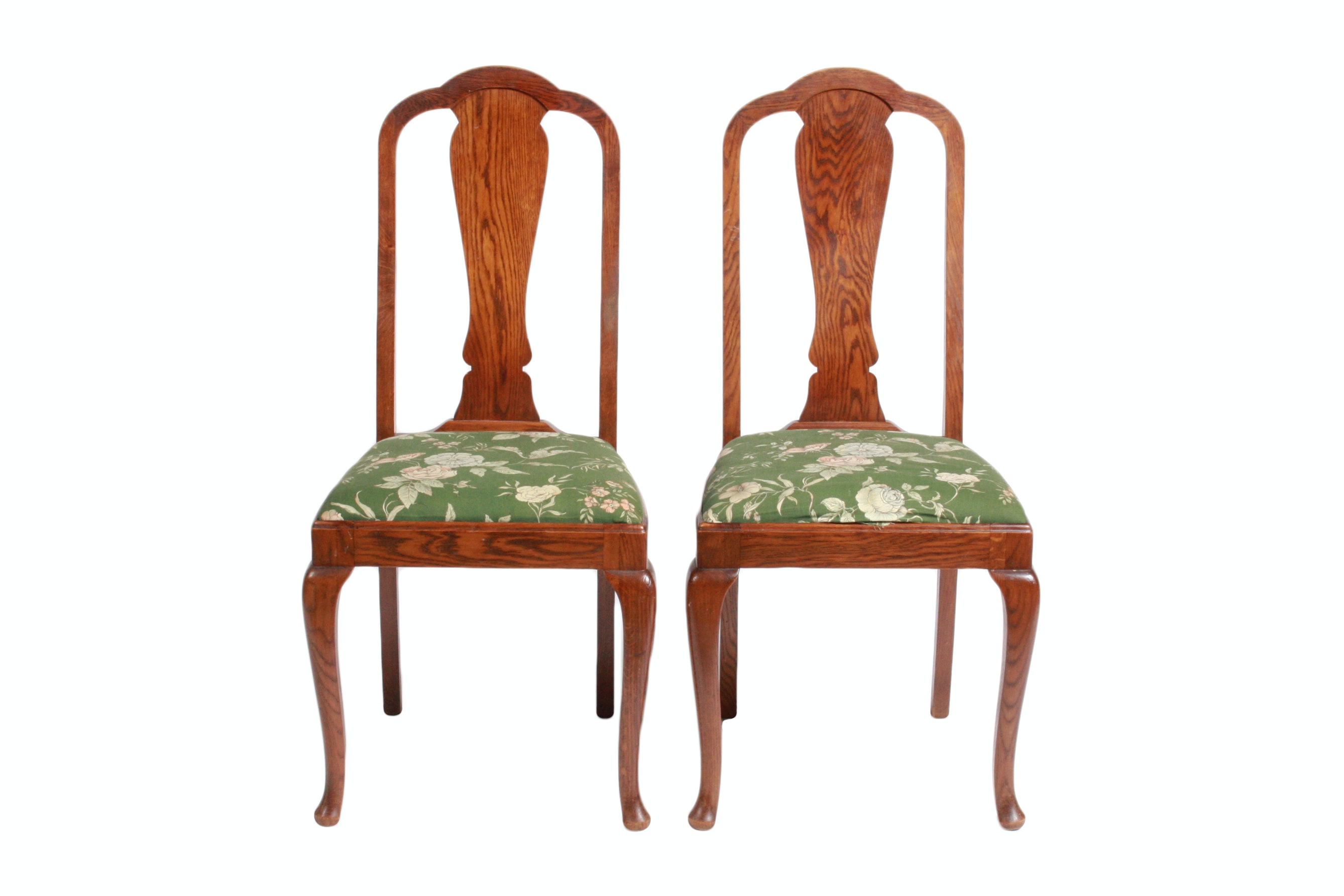 Pair of Queen Anne Style Oak Dining Chairs