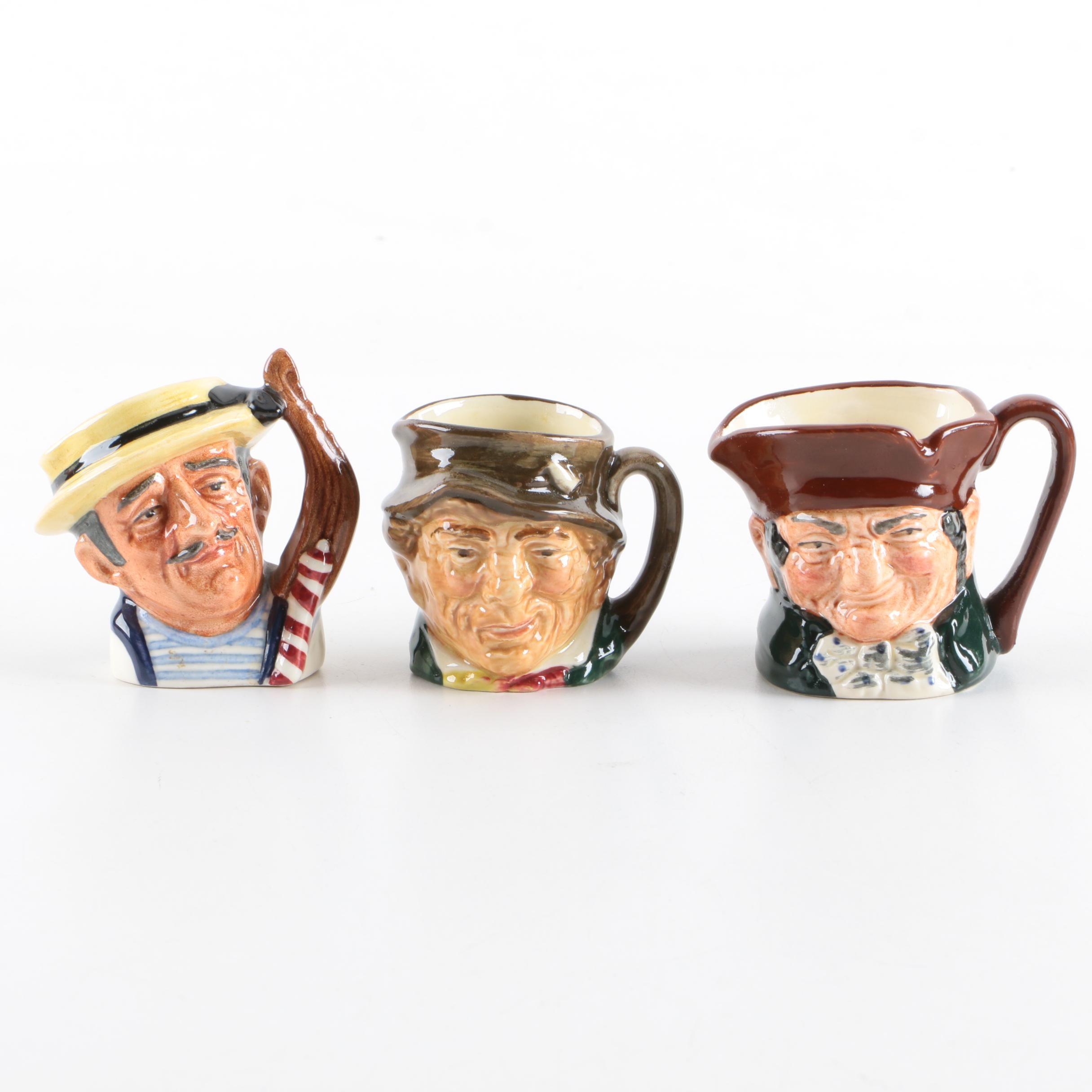 "Royal Doulton Miniature Character Jugs Including Vintage ""Gondolier"""