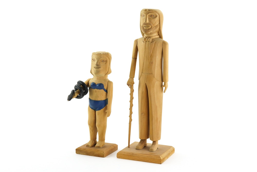 Edgar Tolson and Donny Tolson 1980s Carved Wooden Folk Art Figures