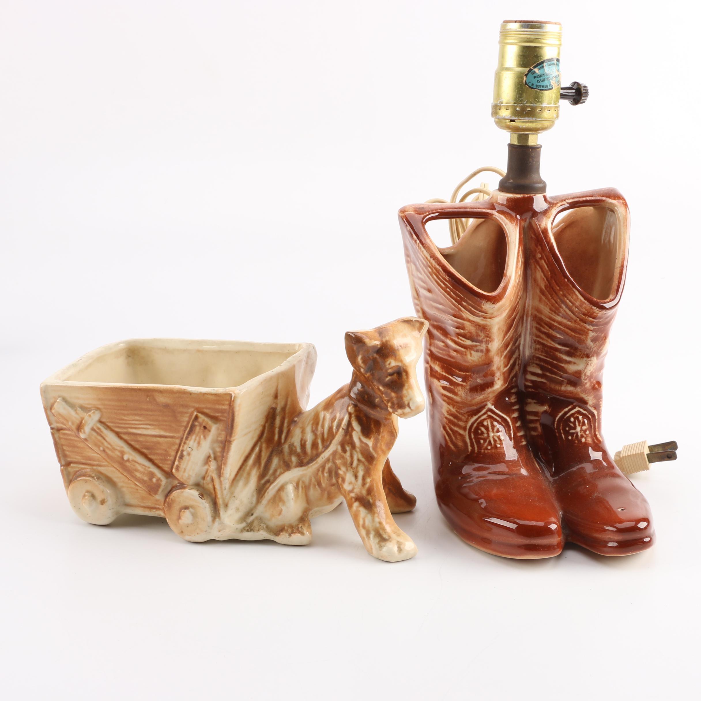 Vintage McCoy Ceramic Planter and Lamp