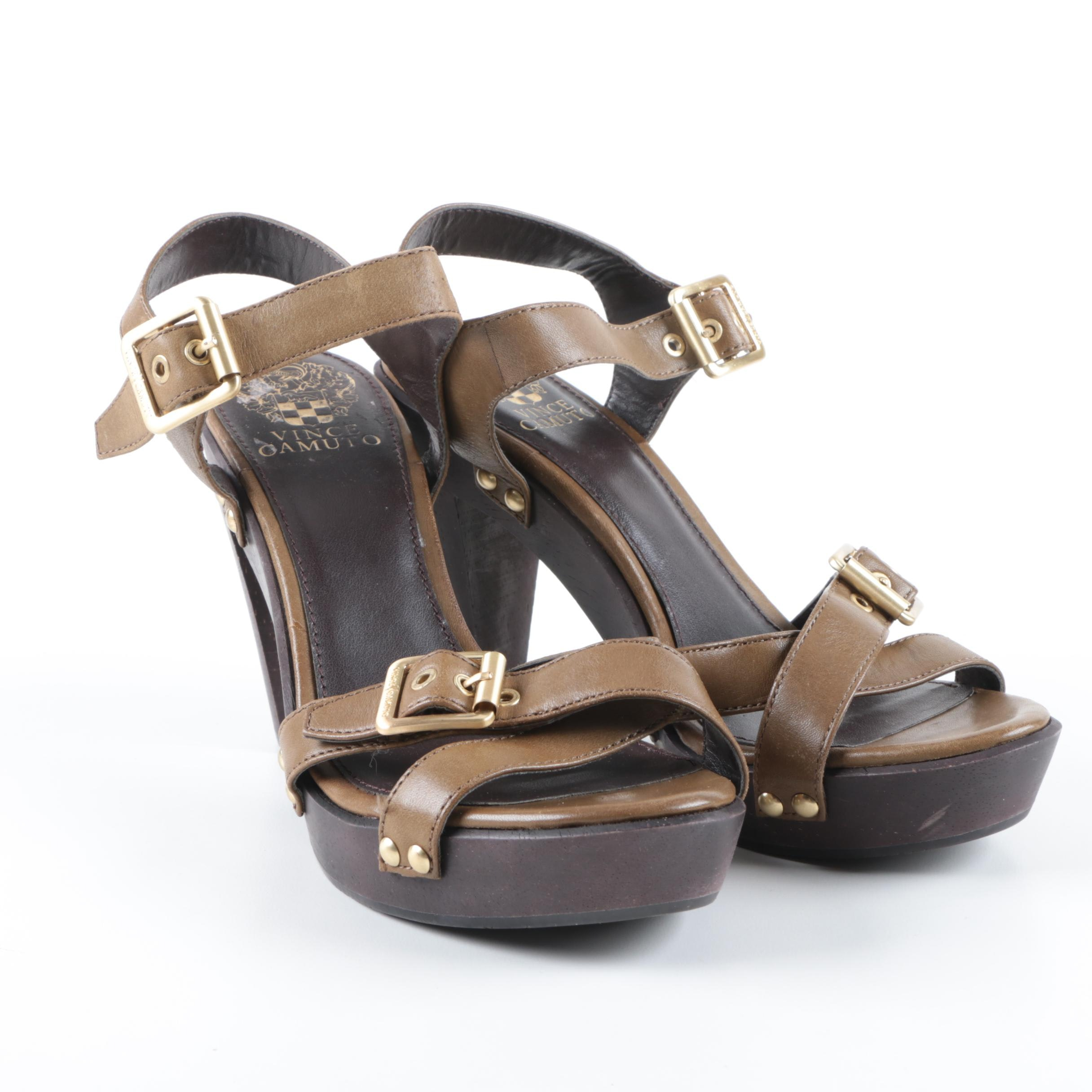 Women's Vince Camuto Brown Leather Platform Sandals With Wooden High Heels