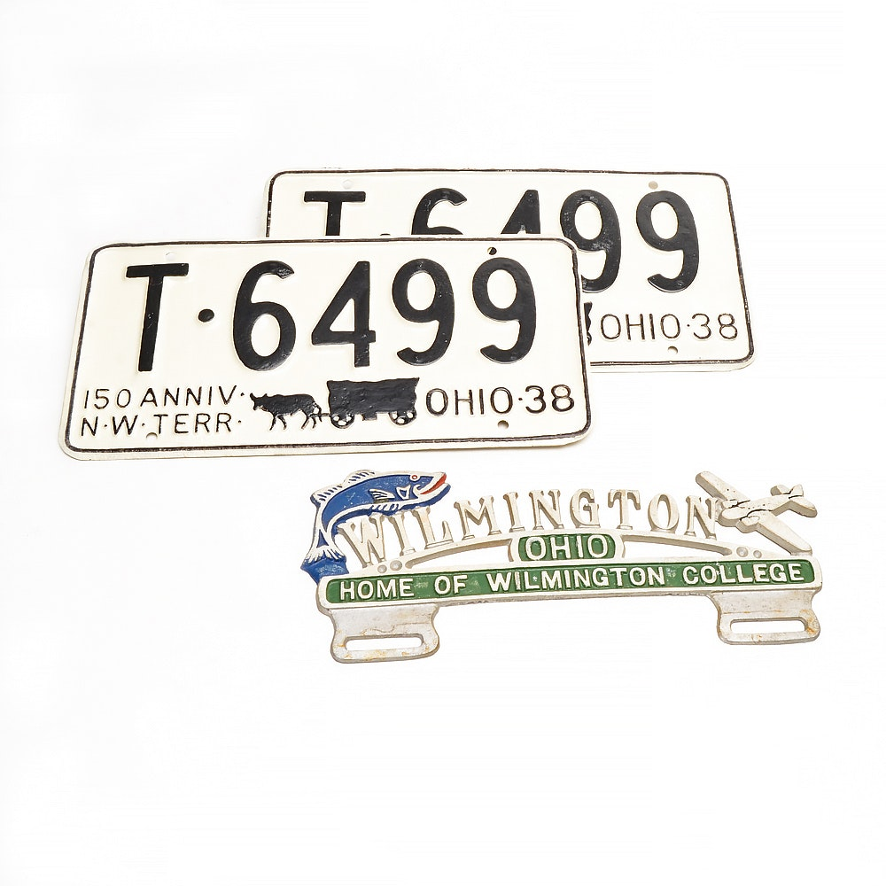 Pair 1938 Ohio License Plates and Wilmington Ohio Topper