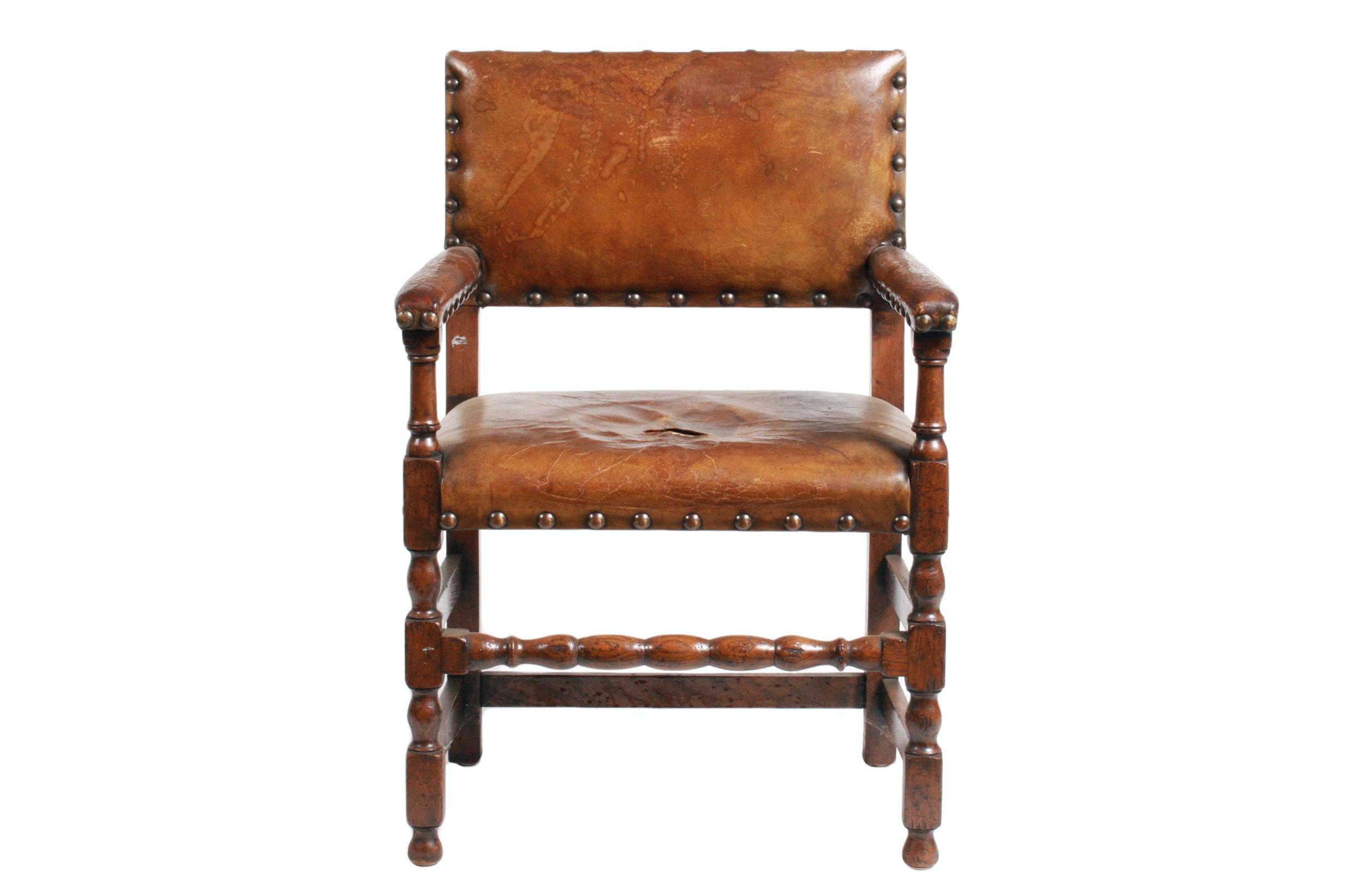 Vintage Jacobean Revival Style Armchair
