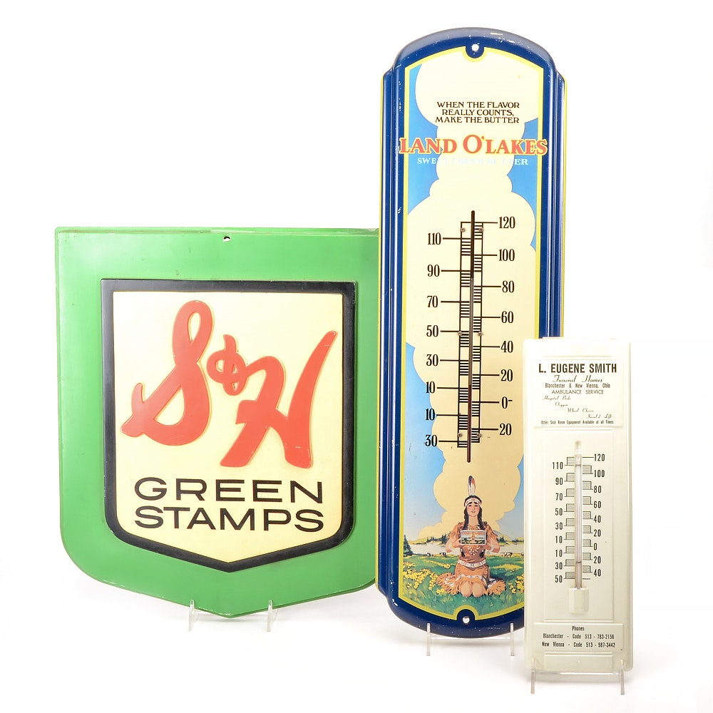 """Assorted Advertising Thermometers and """"S&H Green Stamps"""" Sign"""
