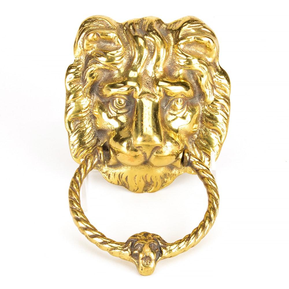 Cast Brass English Lion Door Knocker