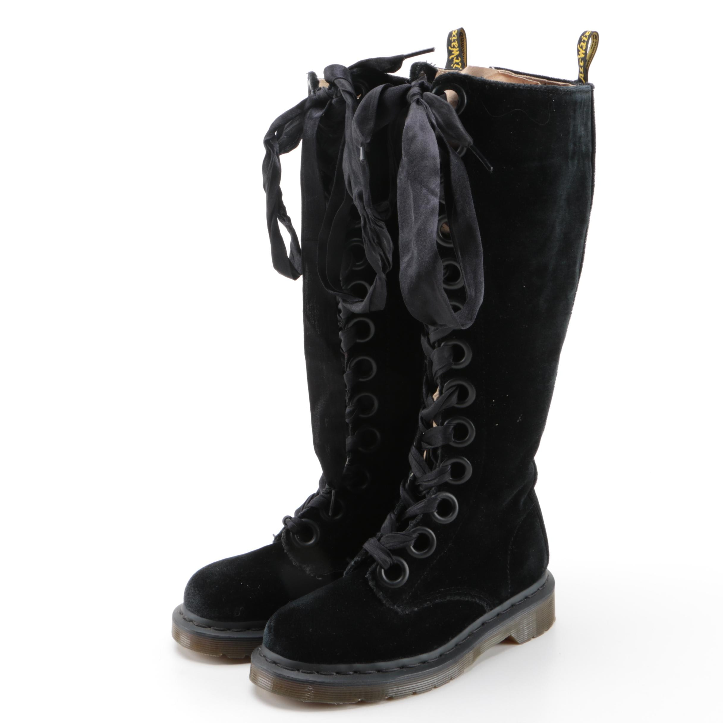 Dr. Martens Black Velveteen Knee-High Lace Up Boots