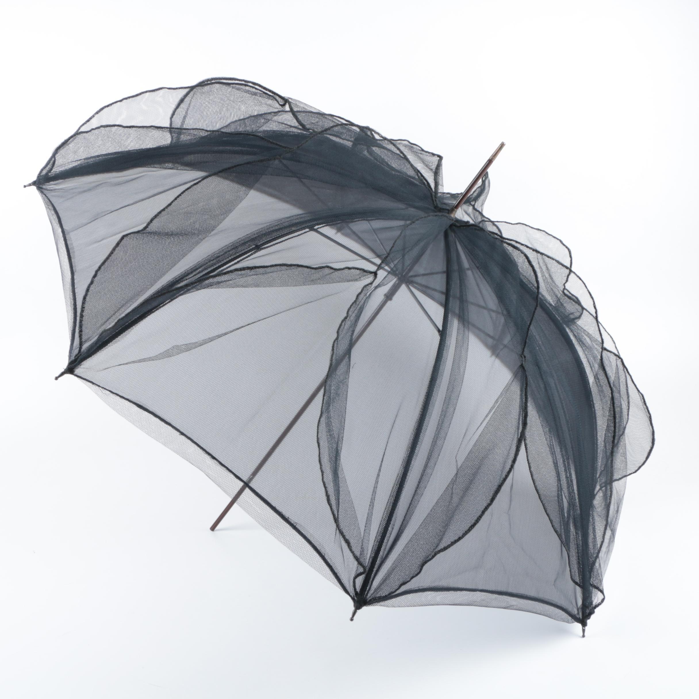 Siobhan Vintage Black Tulle Umbrella