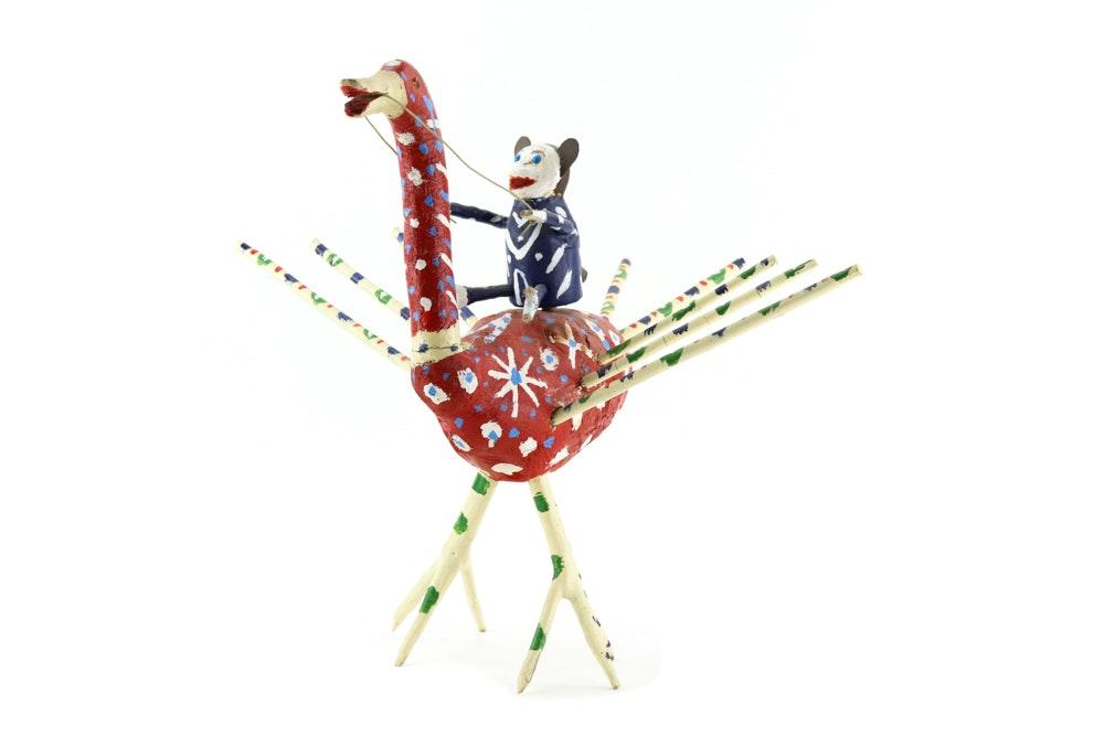 Edd Lambdin Polychrome Wooden Folk Art Sculpture of Monkey and Duck